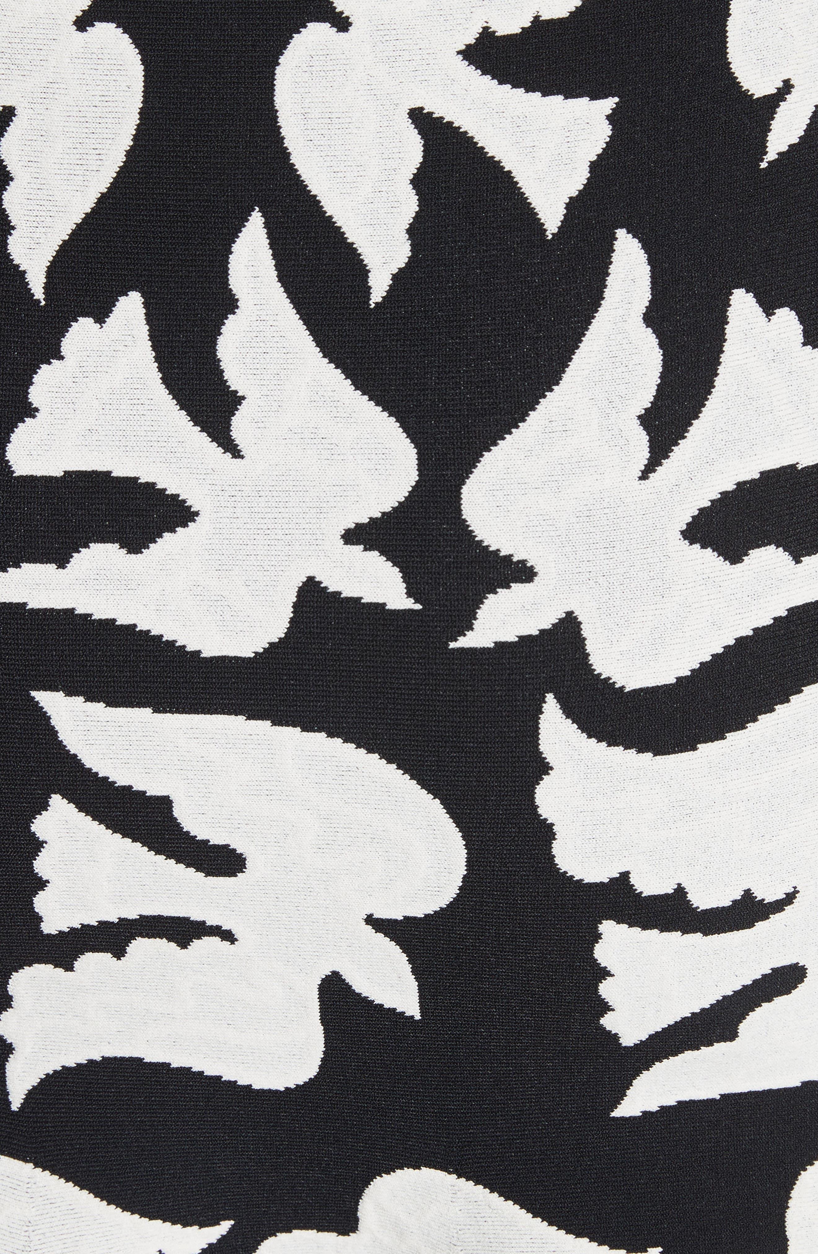 Bicolor Swallow Jacquard Dress,                             Alternate thumbnail 5, color,                             001