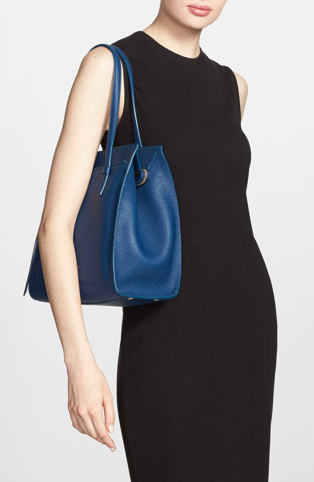 'Small Amy' Calfskin Leather Tote,                             Alternate thumbnail 6, color,                             400