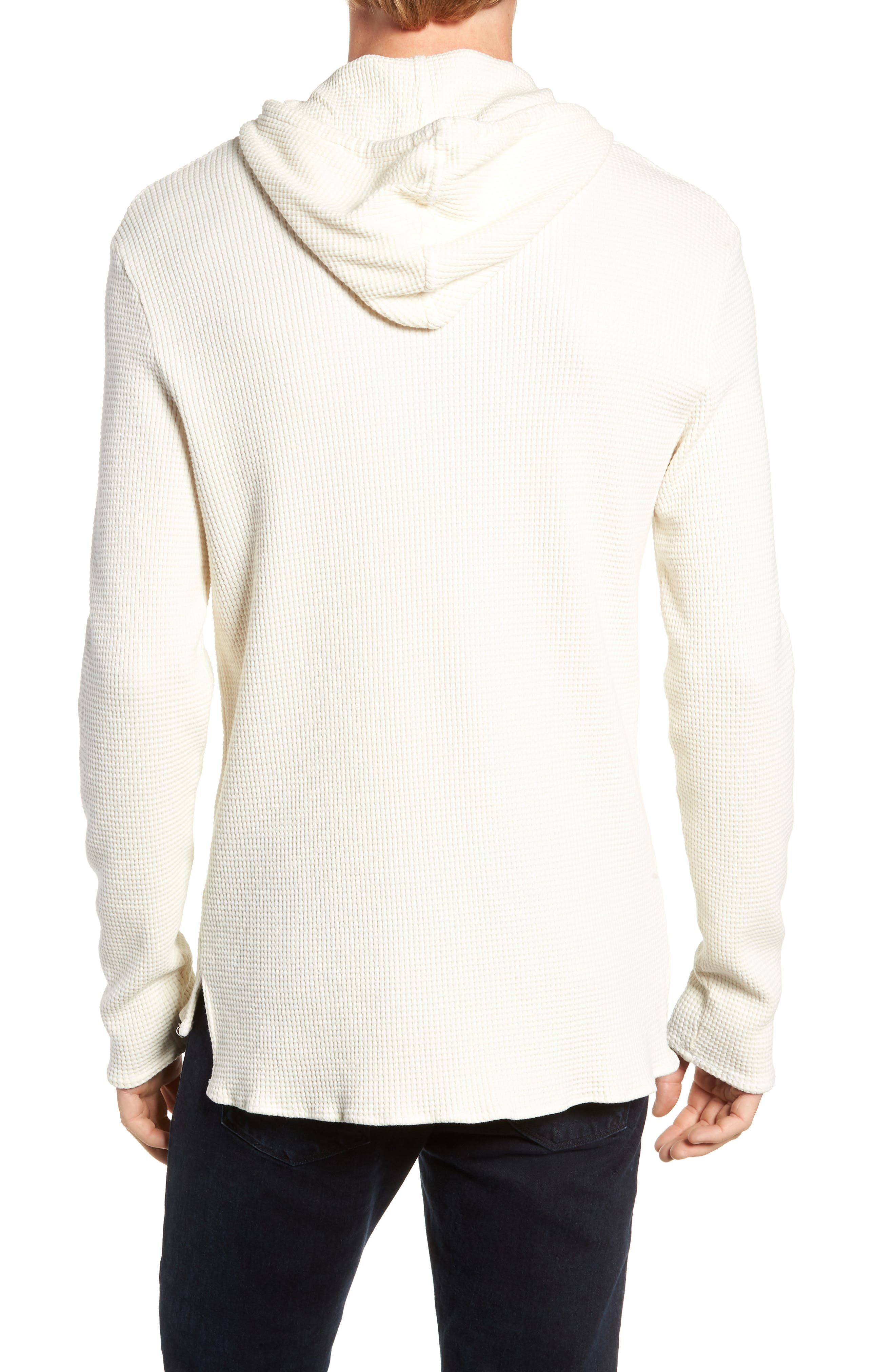Thermal Knit Pullover Hoodie,                             Alternate thumbnail 2, color,                             WHITE