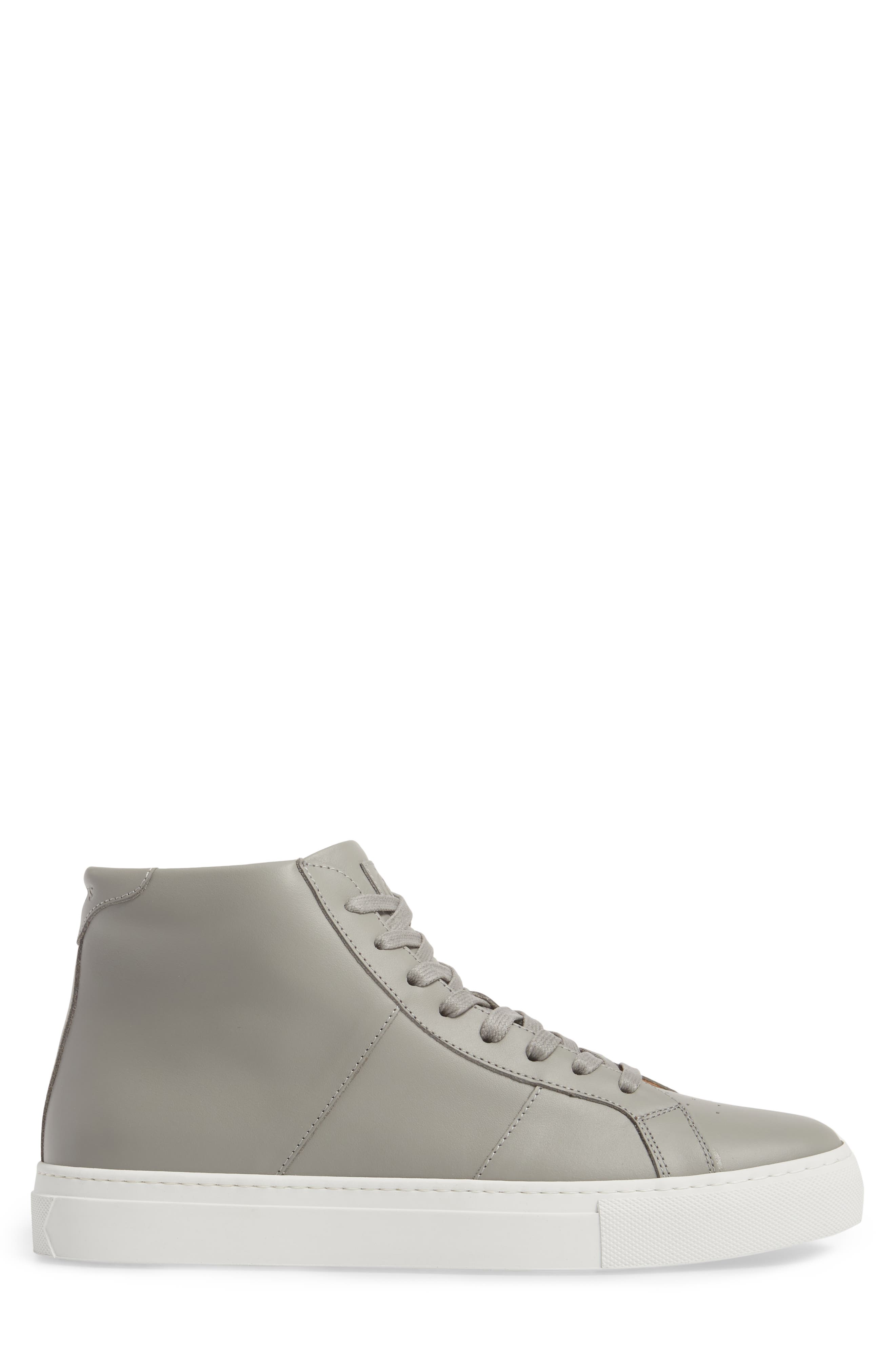 Royale High Top Sneaker,                             Alternate thumbnail 3, color,                             GREY LEATHER