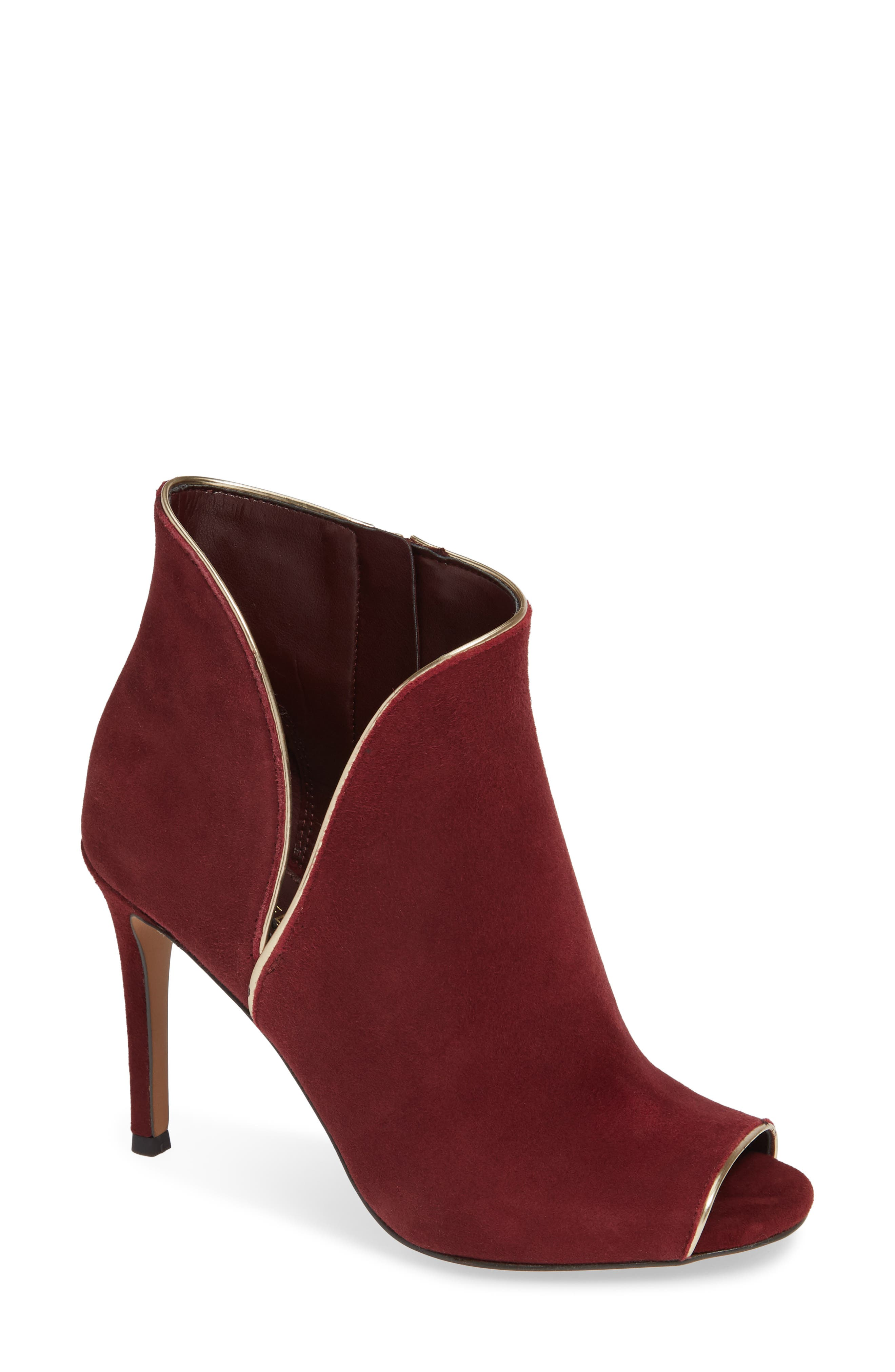 Harper Open Toe Bootie in Oxblood Suede