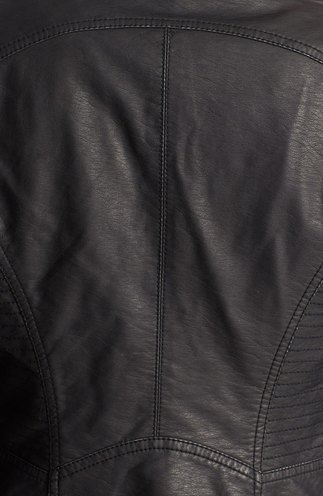 Distressed Faux Leather Moto Jacket,                             Alternate thumbnail 2, color,                             001