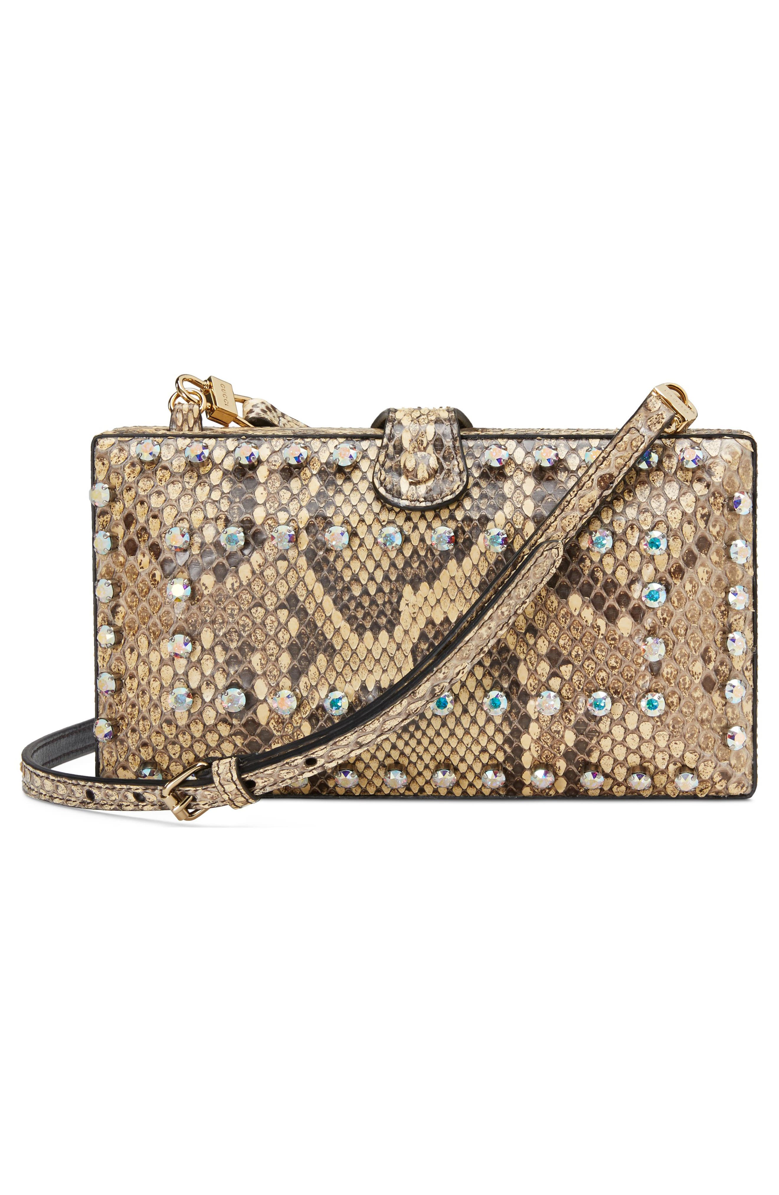 Broadway Genuine Python Minaudière,                             Alternate thumbnail 2, color,                             BEIGE/ NATURAL YELLOW/ CRYSTAL