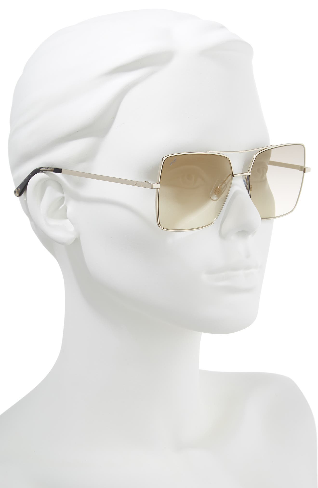 57mm Square Metal Aviator Sunglasses,                             Alternate thumbnail 2, color,                             GOLD/ BROWN