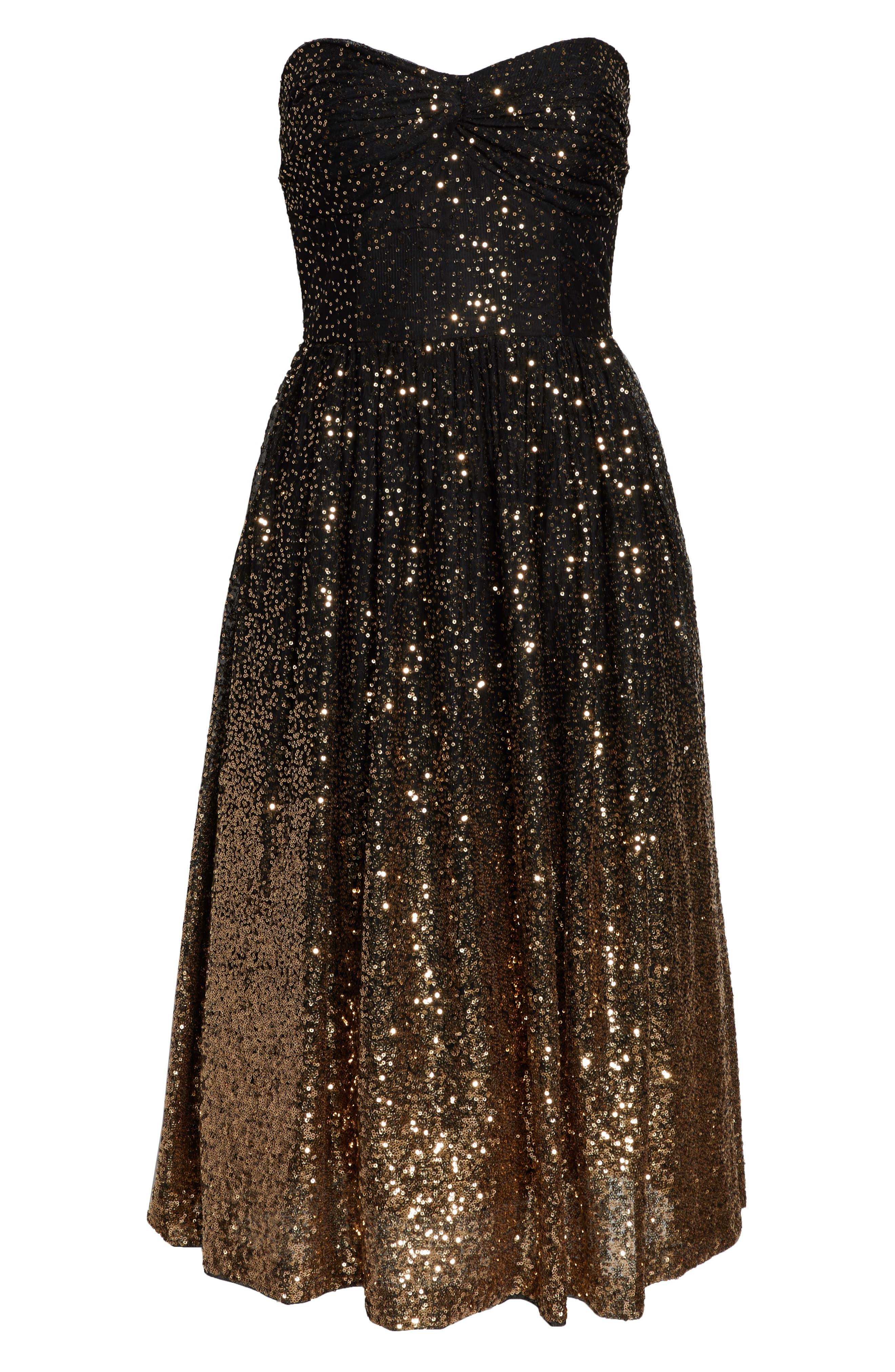 Strapless Midi Dress,                             Alternate thumbnail 7, color,                             BLACK GOLD