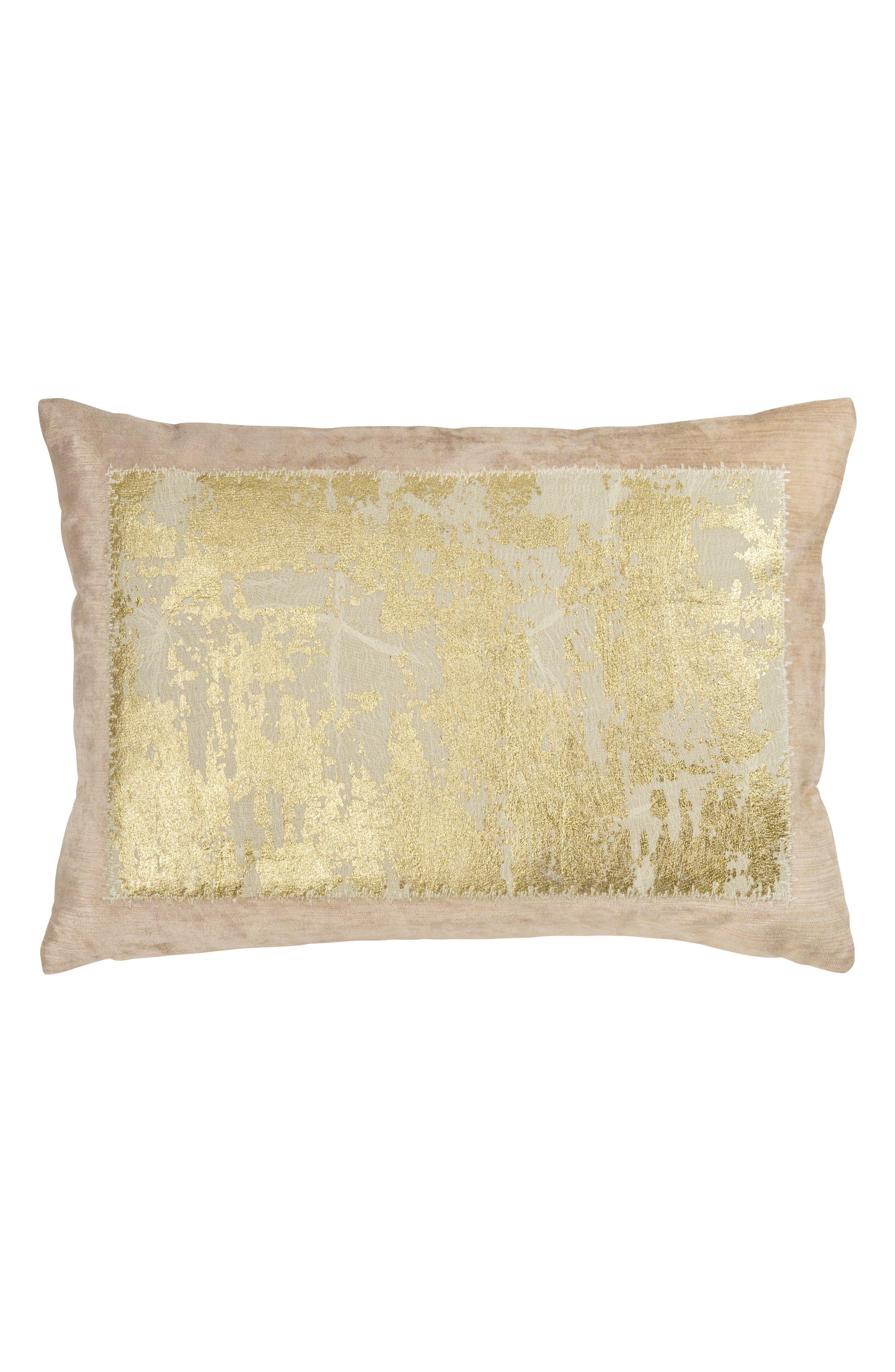 Distressed Metallic Accent Pillow,                             Main thumbnail 1, color,                             BLUSH