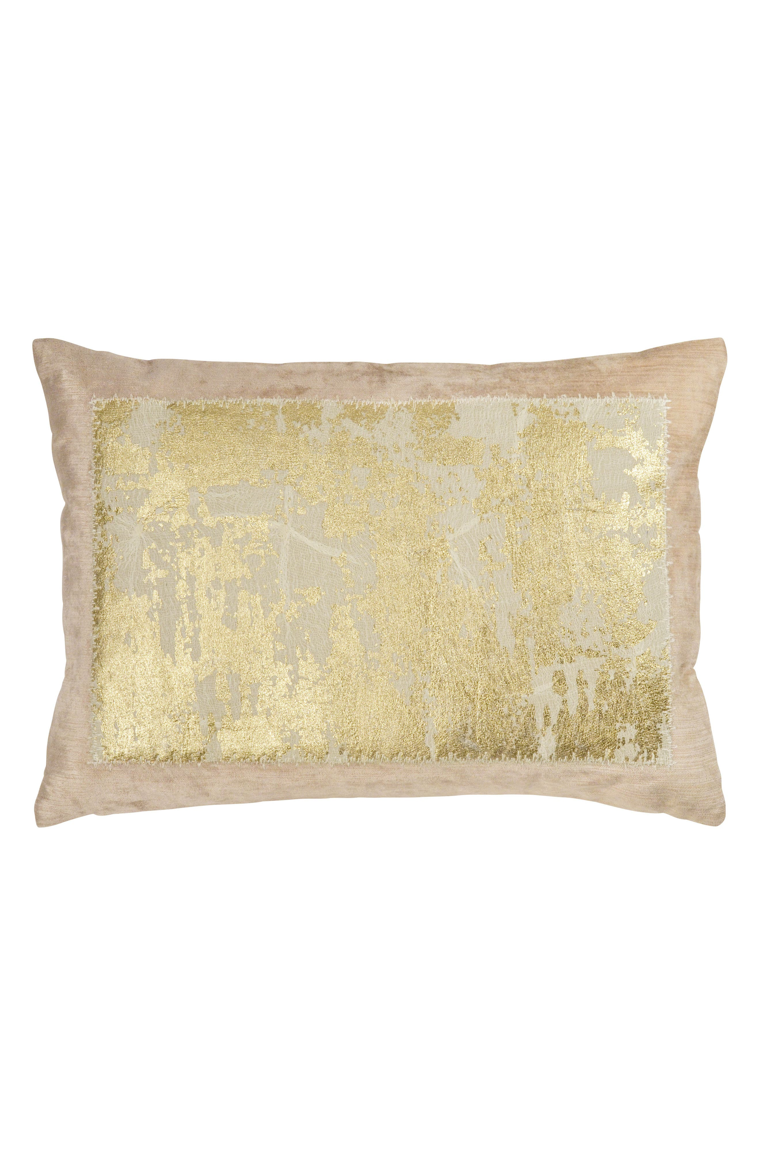 Distressed Metallic Accent Pillow,                         Main,                         color, BLUSH