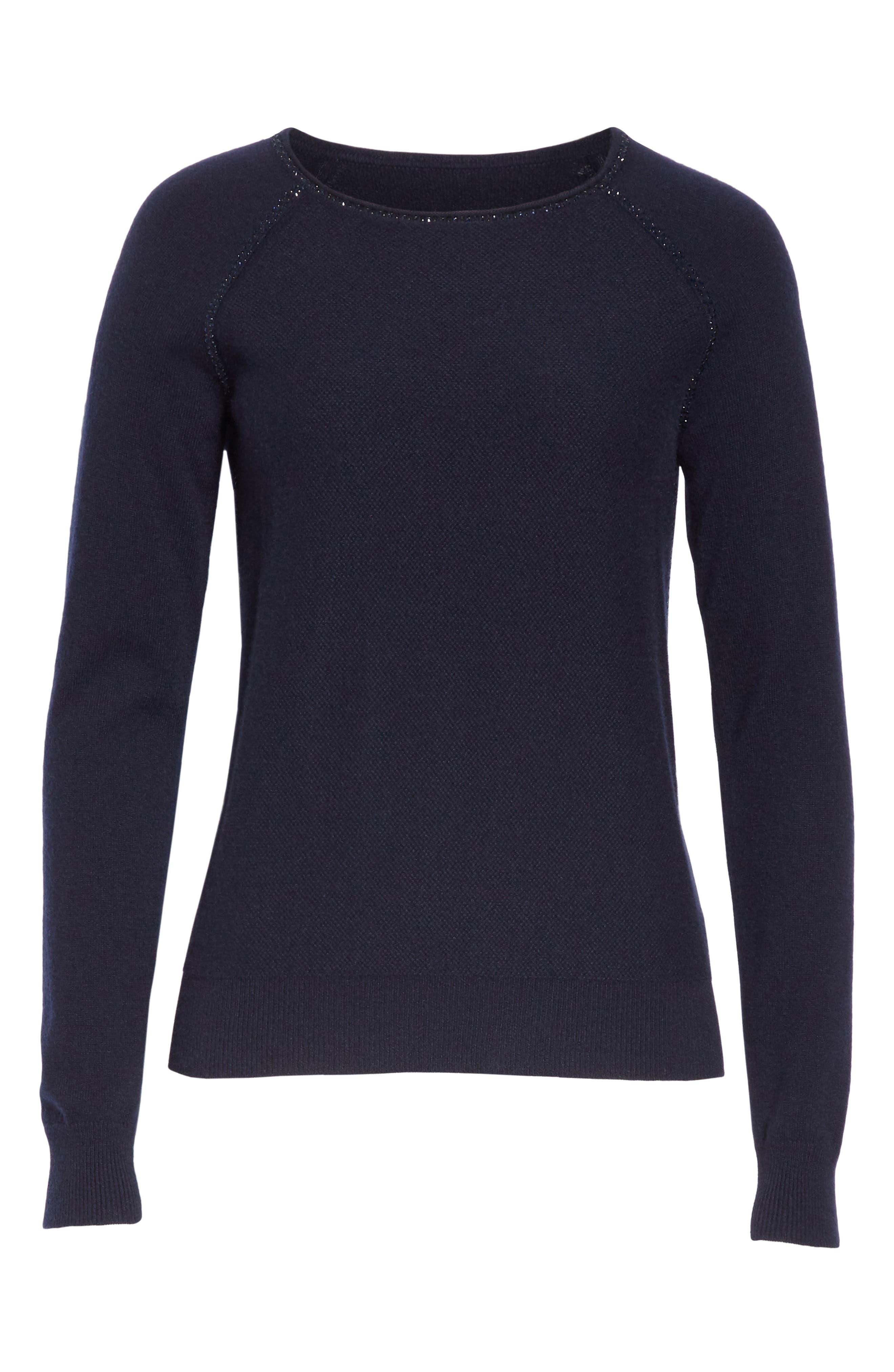 Cashmere Raglan Sweater,                             Alternate thumbnail 7, color,                             NAVY