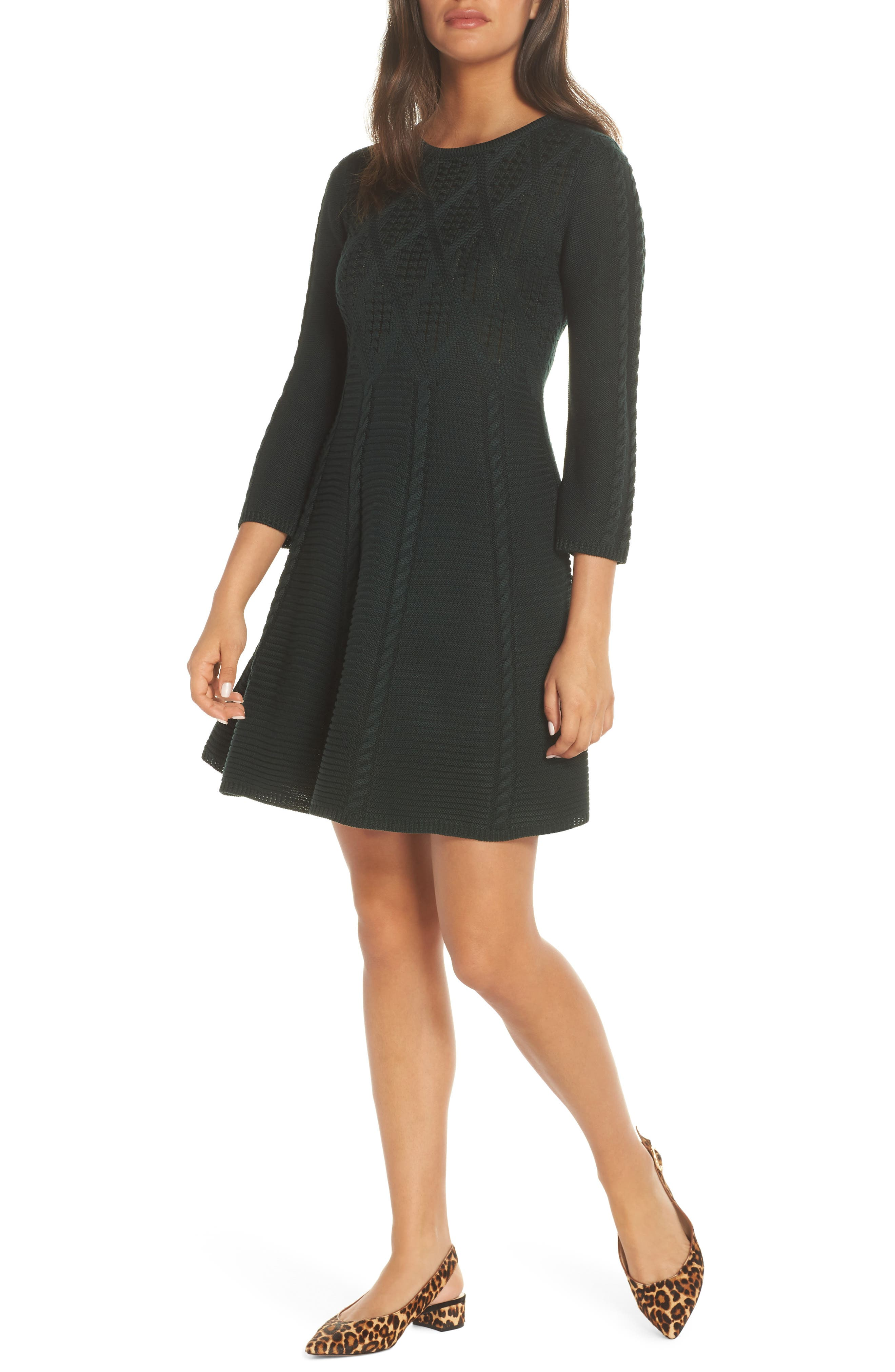 Cable Fit & Flare Sweater Dress, Main, color, GREEN