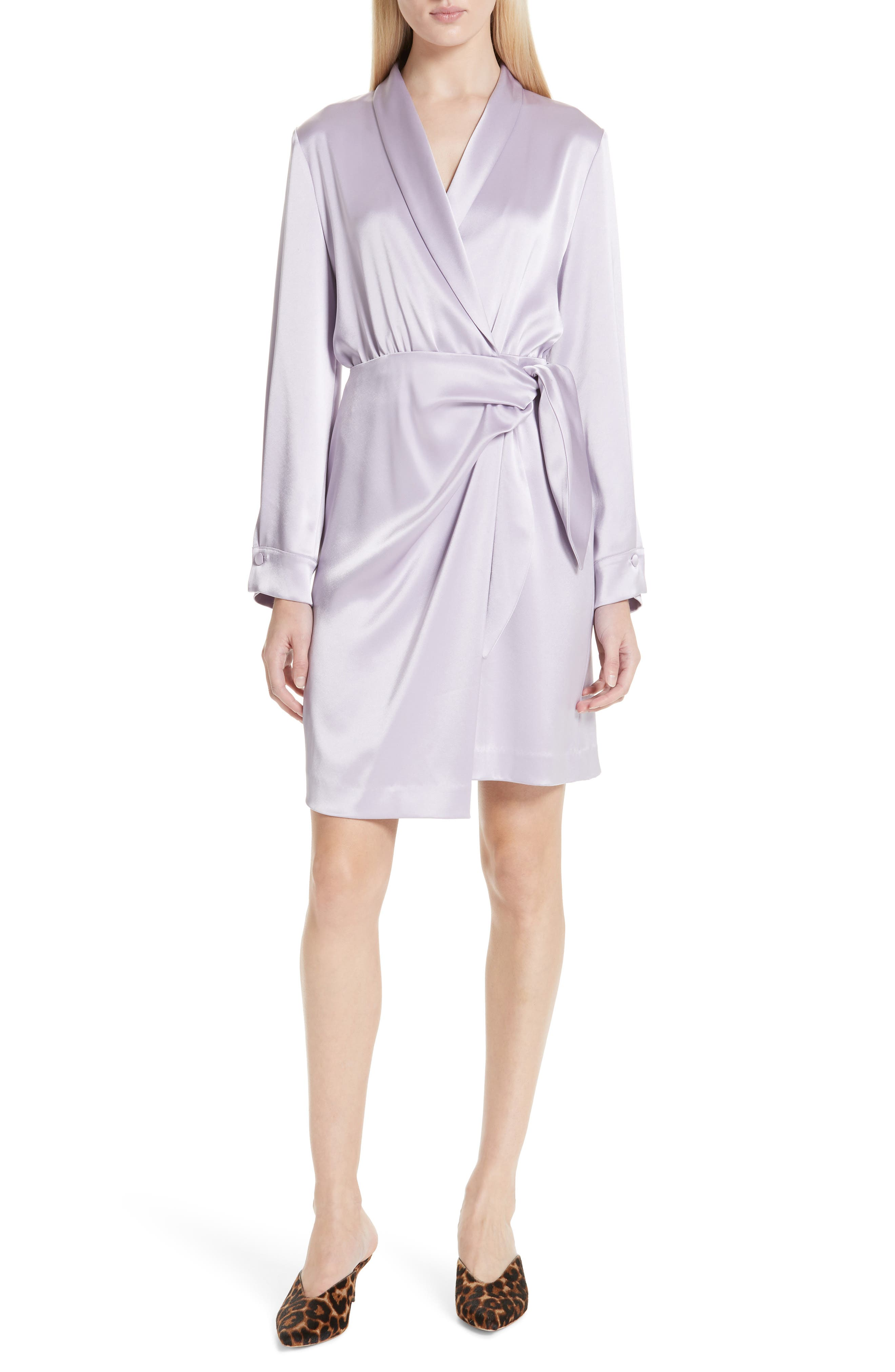 Nanushka Siwa Satin Wrap Dress, Purple