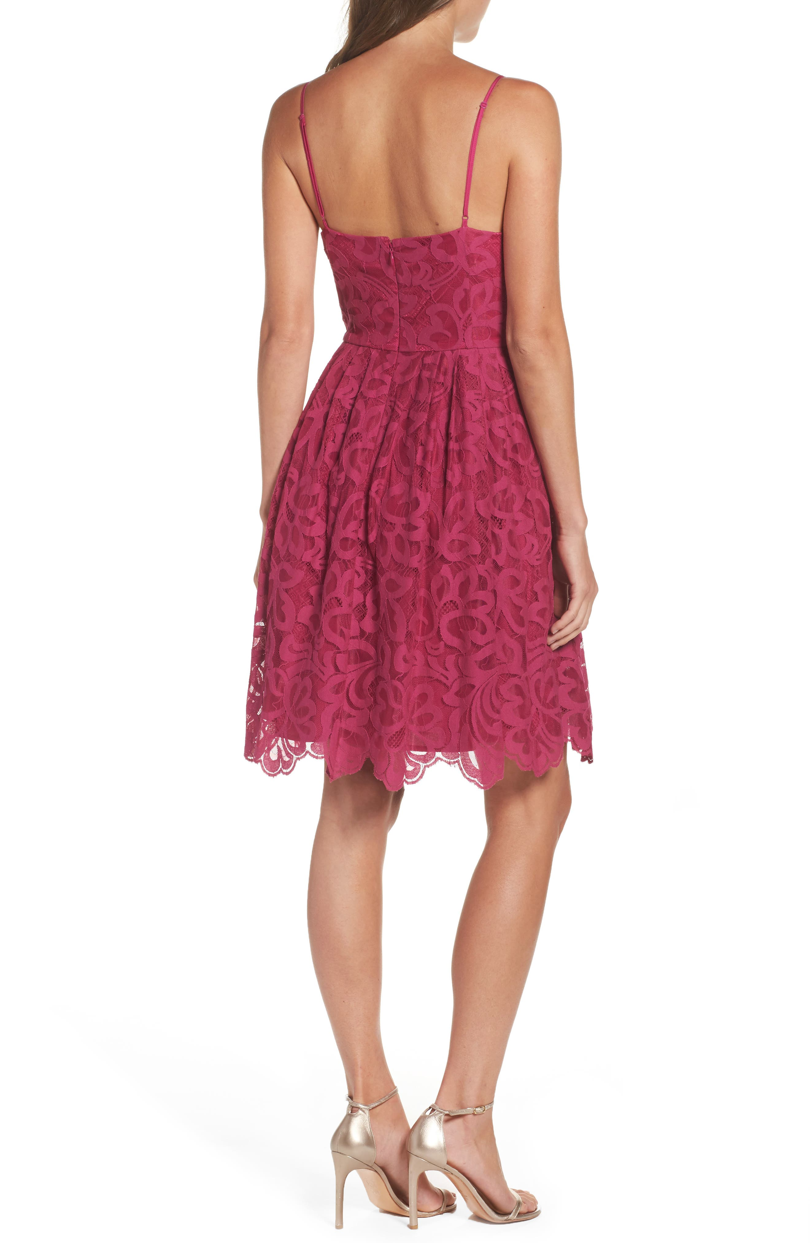 Celeste Scalloped Lace Fit & Flare Dress,                             Alternate thumbnail 2, color,