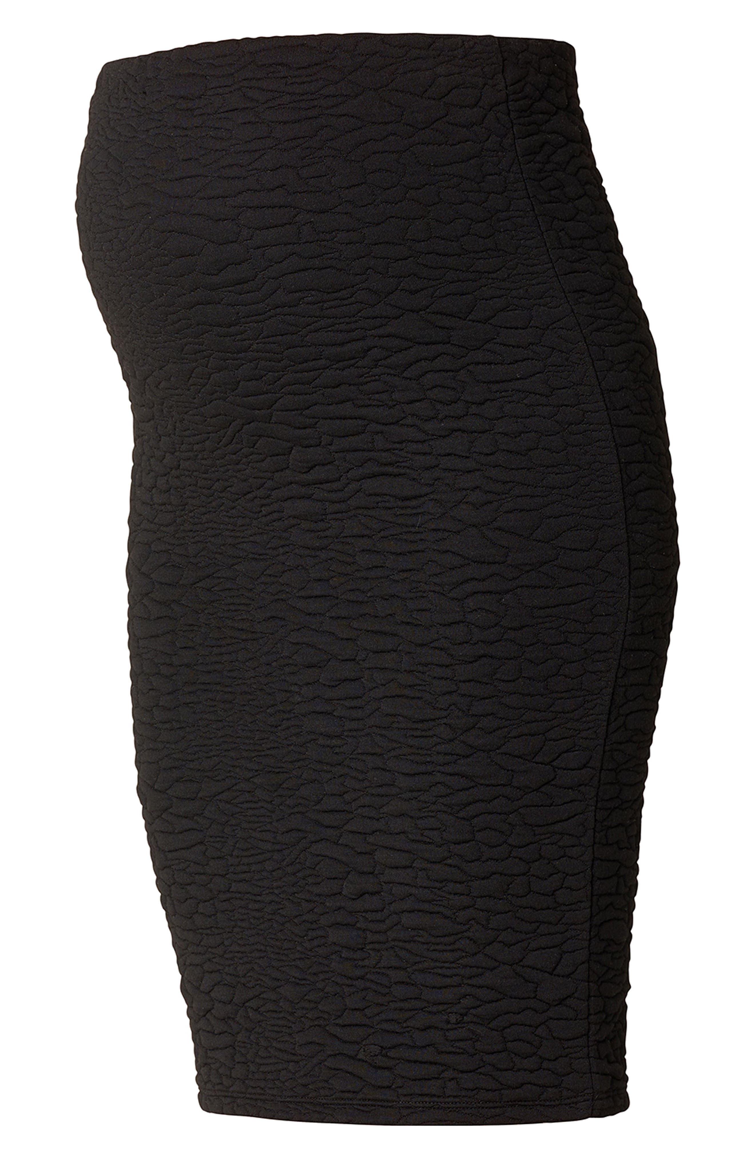 Jane Textured Knit Maternity Skirt,                             Alternate thumbnail 2, color,                             BLACK