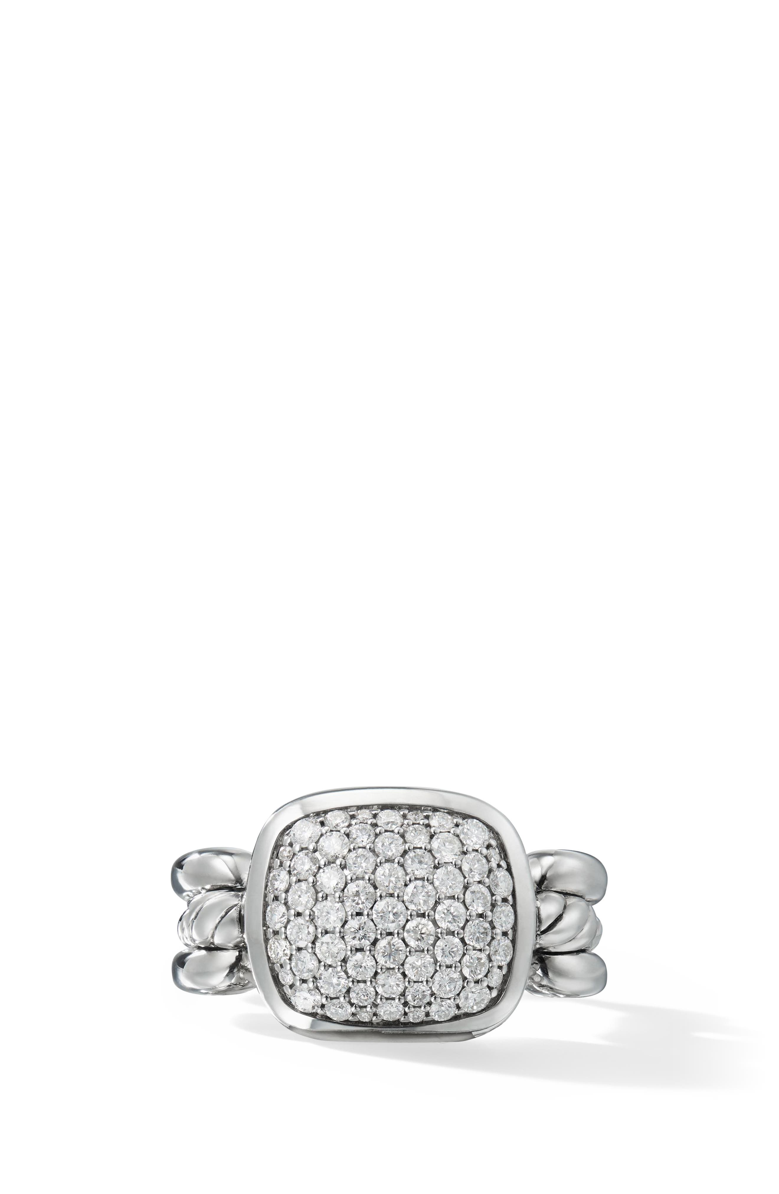 Wellesley Link Ring with Diamonds,                         Main,                         color, SILVER/ DIAMOND