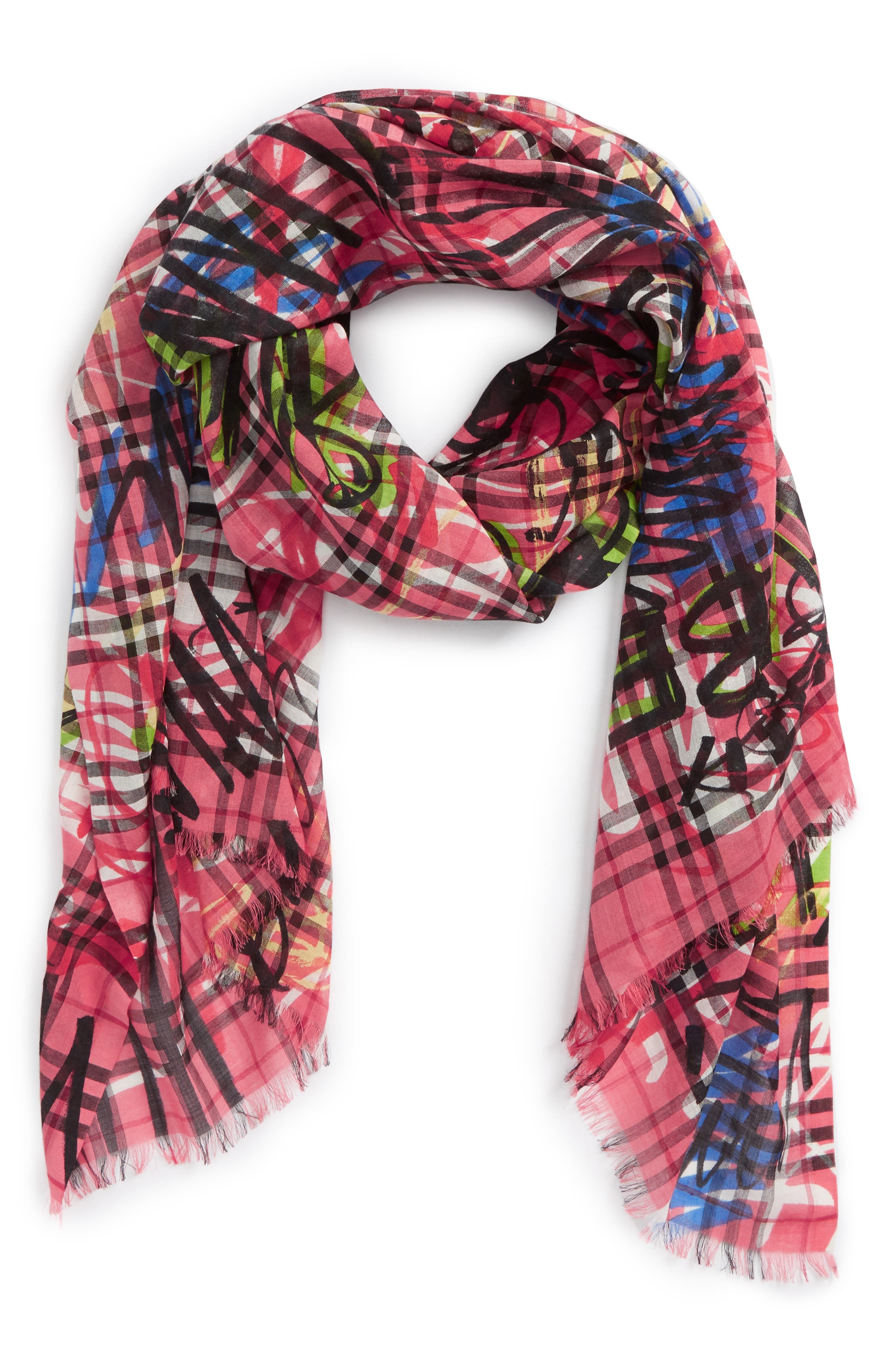 Vintage Check Wool & Silk Scarf,                             Alternate thumbnail 2, color,                             665