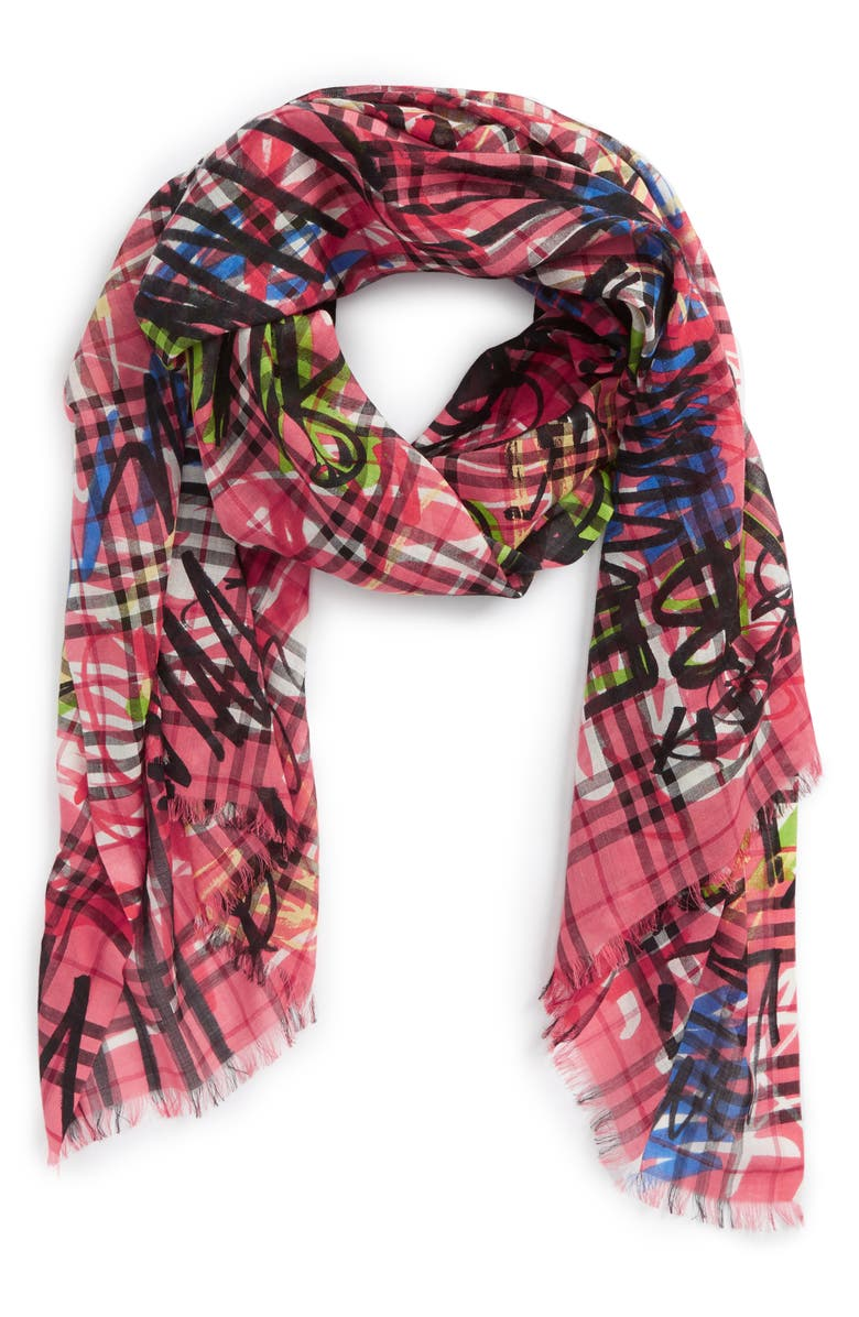 Vintage Check Wool & Silk Scarf, Alternate, color, 665