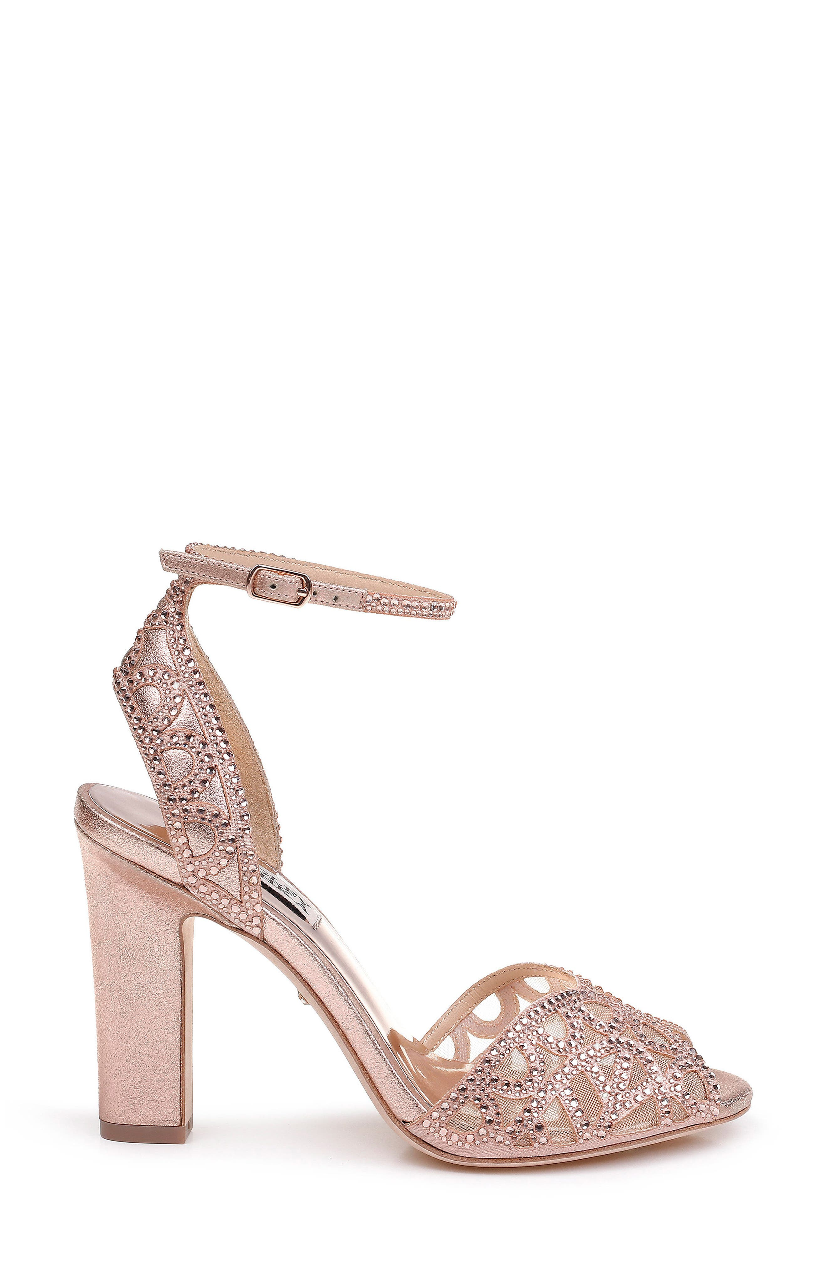 Hart Crystal Embellished Sandal,                             Alternate thumbnail 3, color,                             ROSE GOLD METALLIC SUEDE