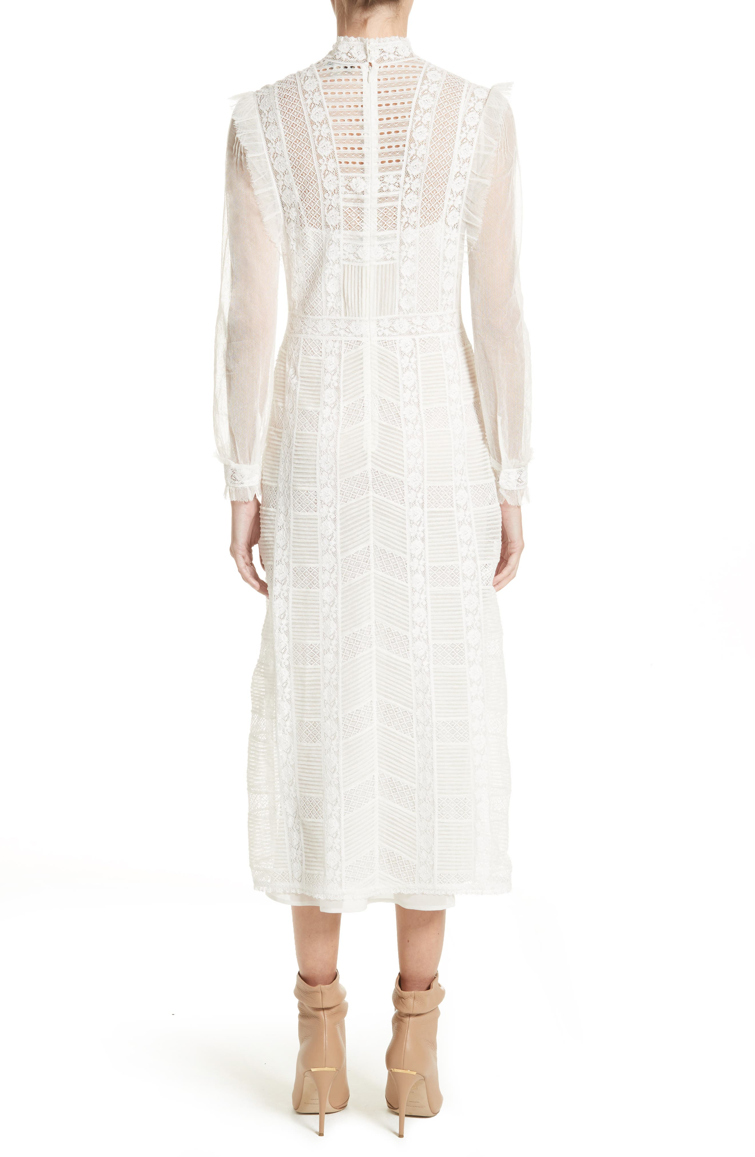 Chanella Lace Midi Dress,                             Alternate thumbnail 2, color,                             100