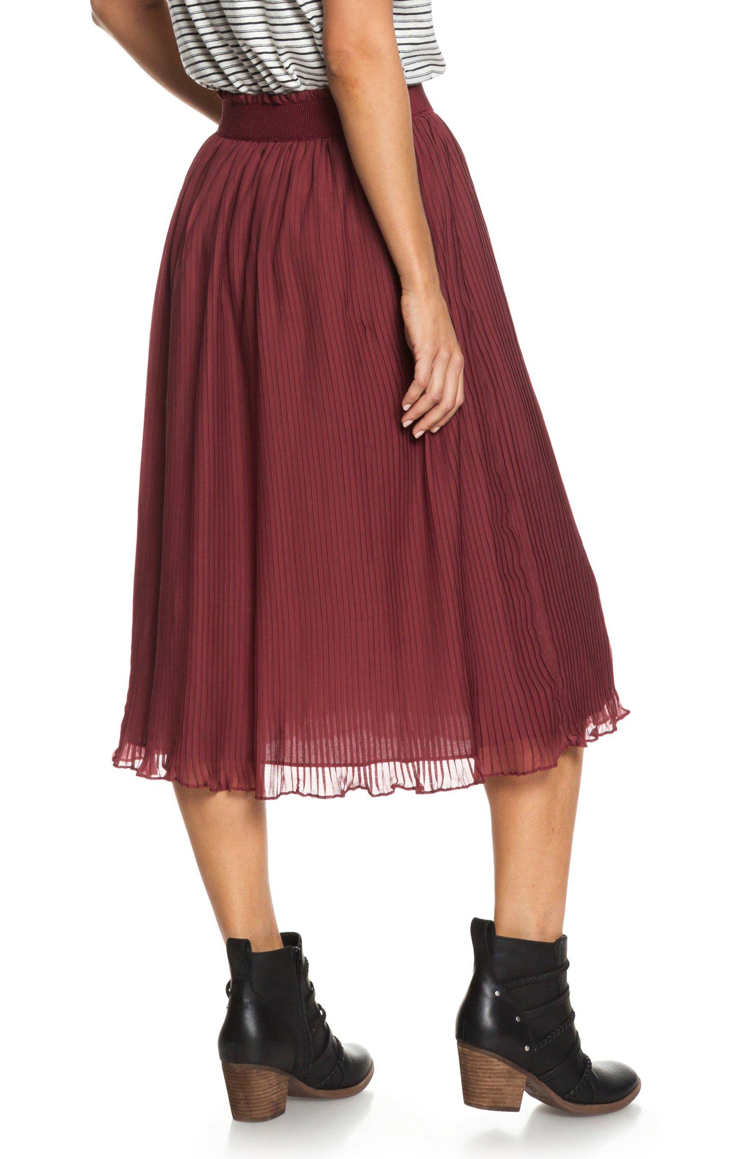 ROXY,                             Green Canyon Midi Skirt,                             Alternate thumbnail 2, color,                             OXBLOOD RED