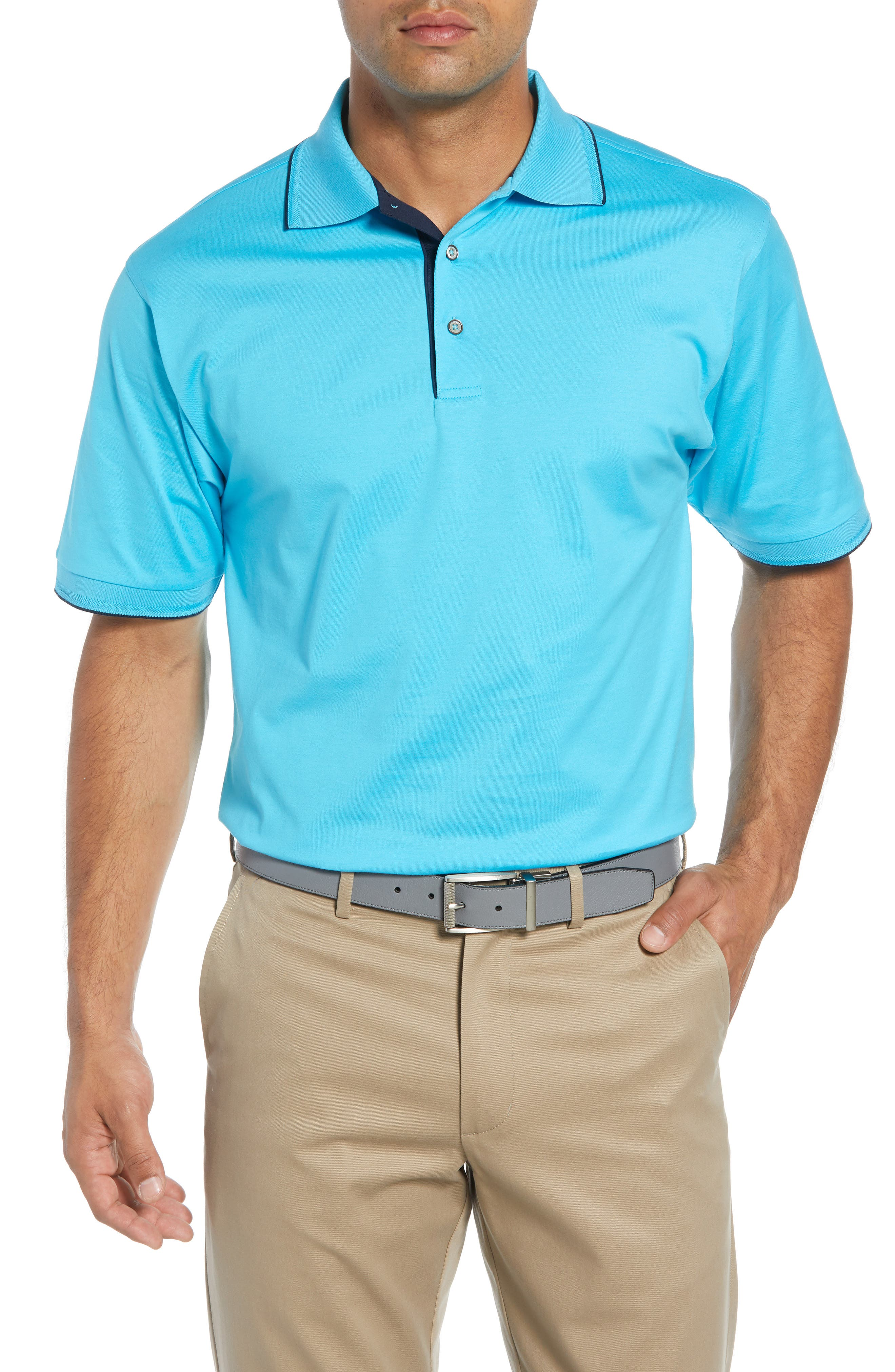 Solid Tipped Polo,                             Main thumbnail 1, color,                             BLUE