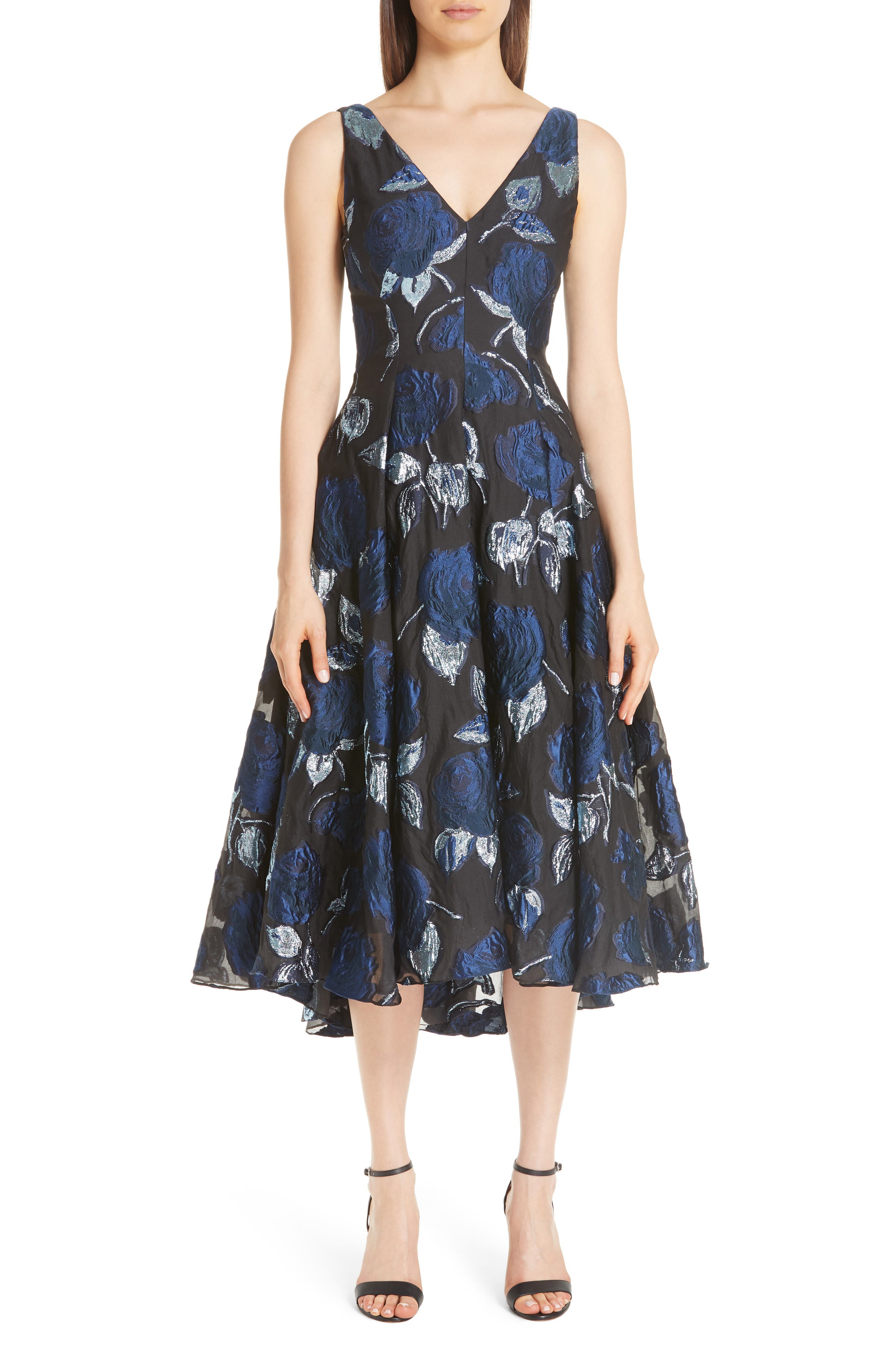 Lela Rose Metallic Floral Fil Coupe Fit & Flare Midi Dress, Blue