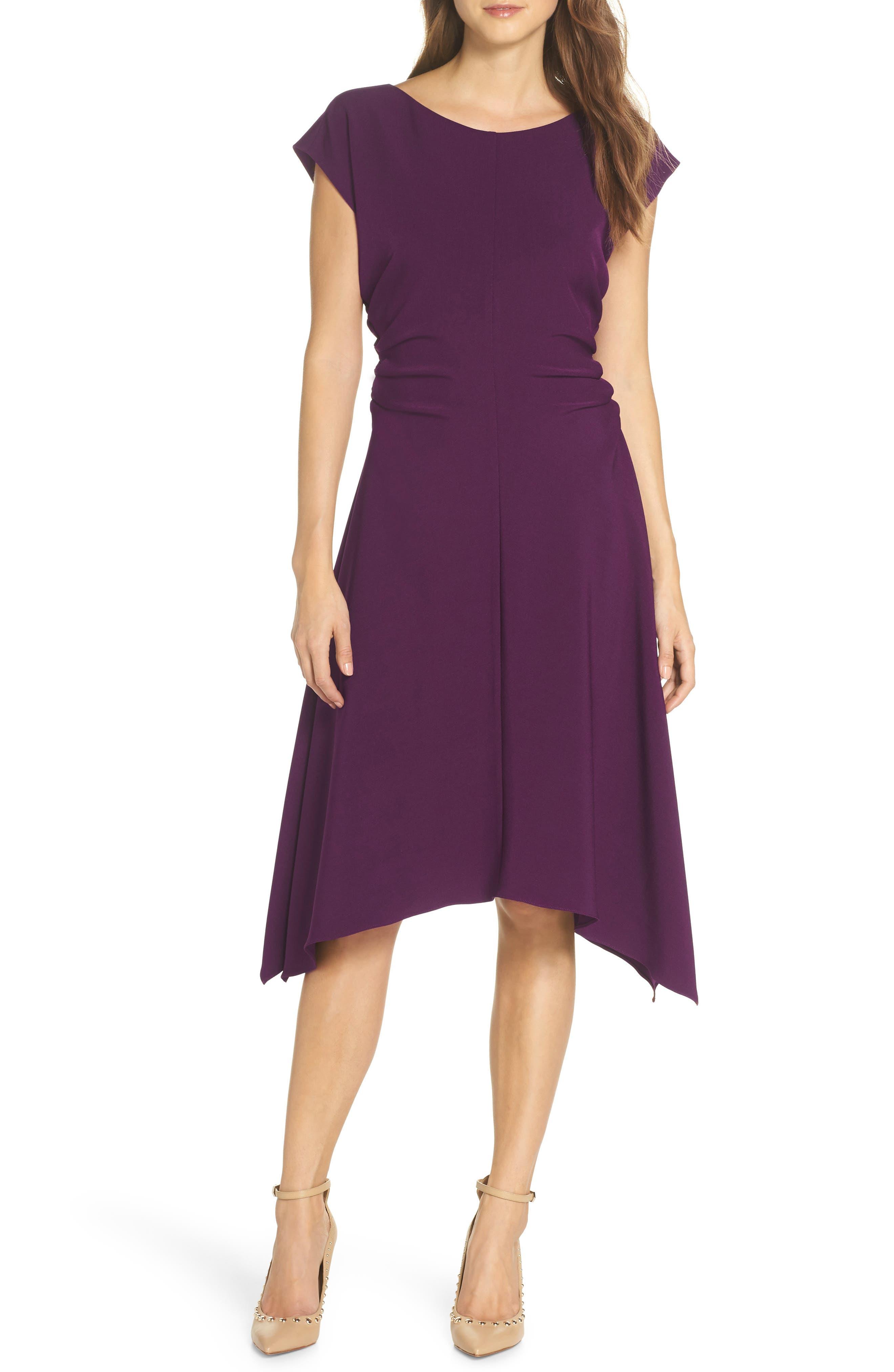 JULIA JORDAN,                             Ruched Stretch Crepe Fit & Flare Dress,                             Main thumbnail 1, color,                             PLUM