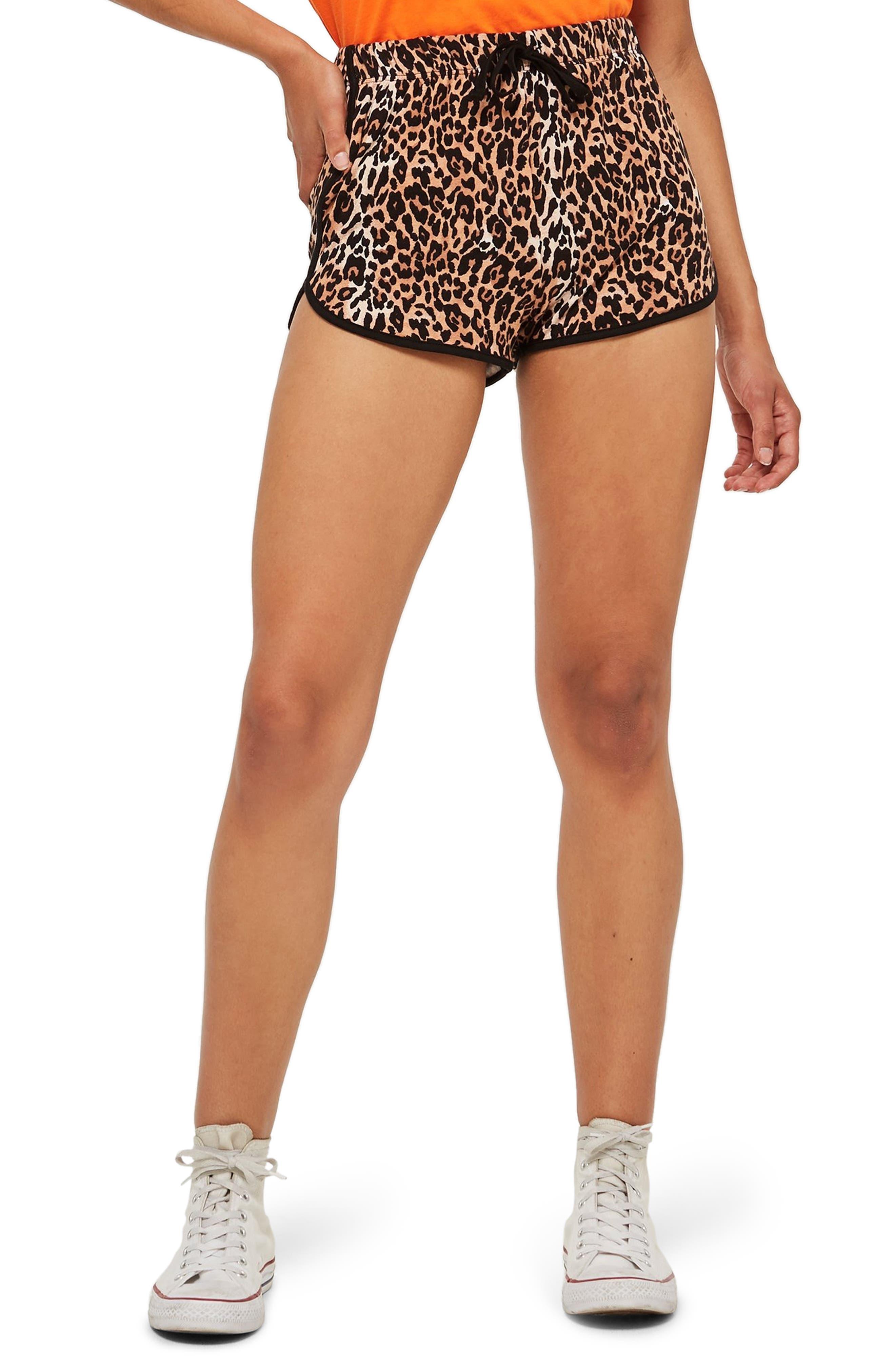 Leopard Runner Shorts,                             Main thumbnail 1, color,                             BROWN MULTI