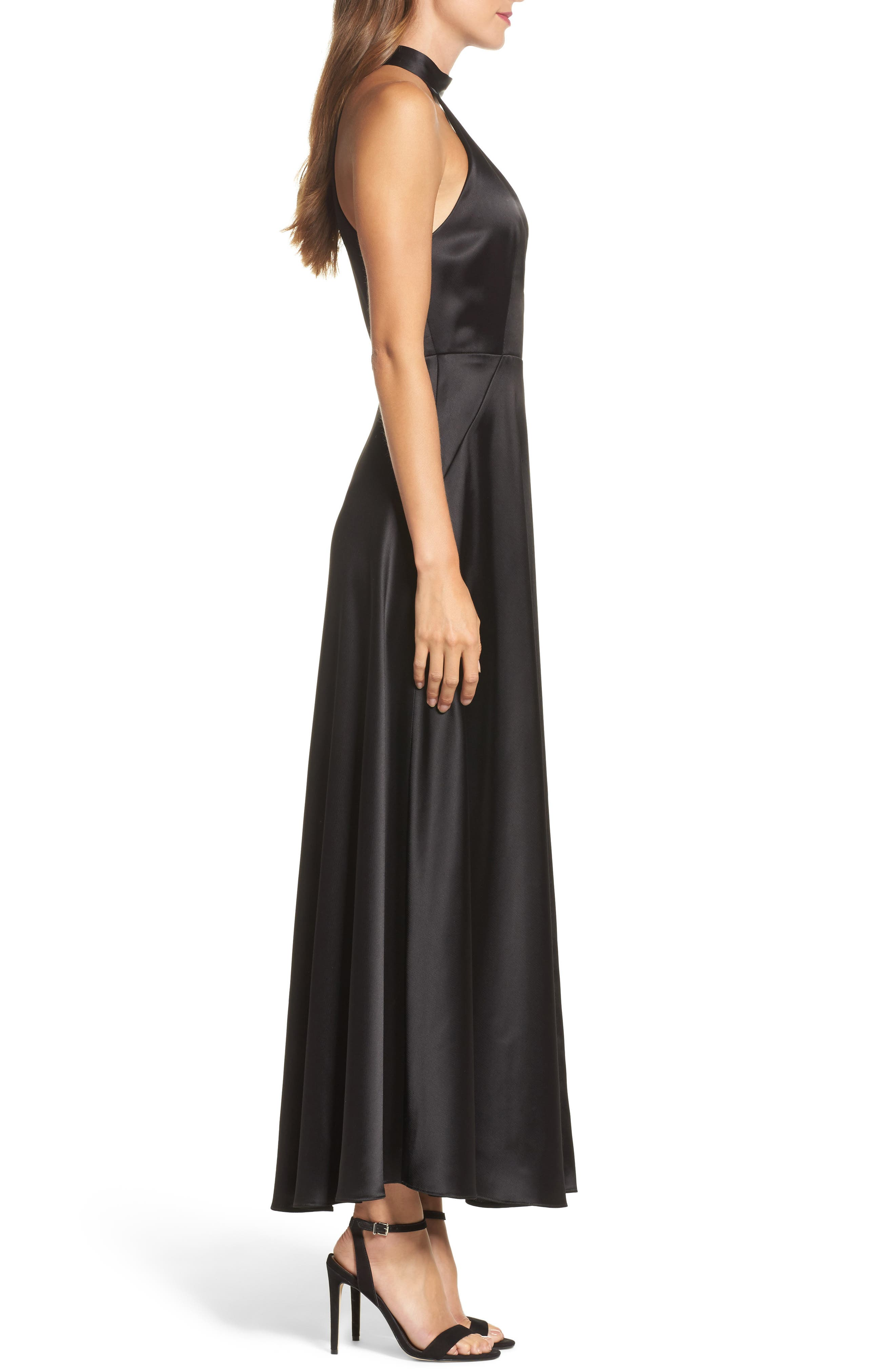 Satin Back Crepe Gown,                             Alternate thumbnail 3, color,                             001