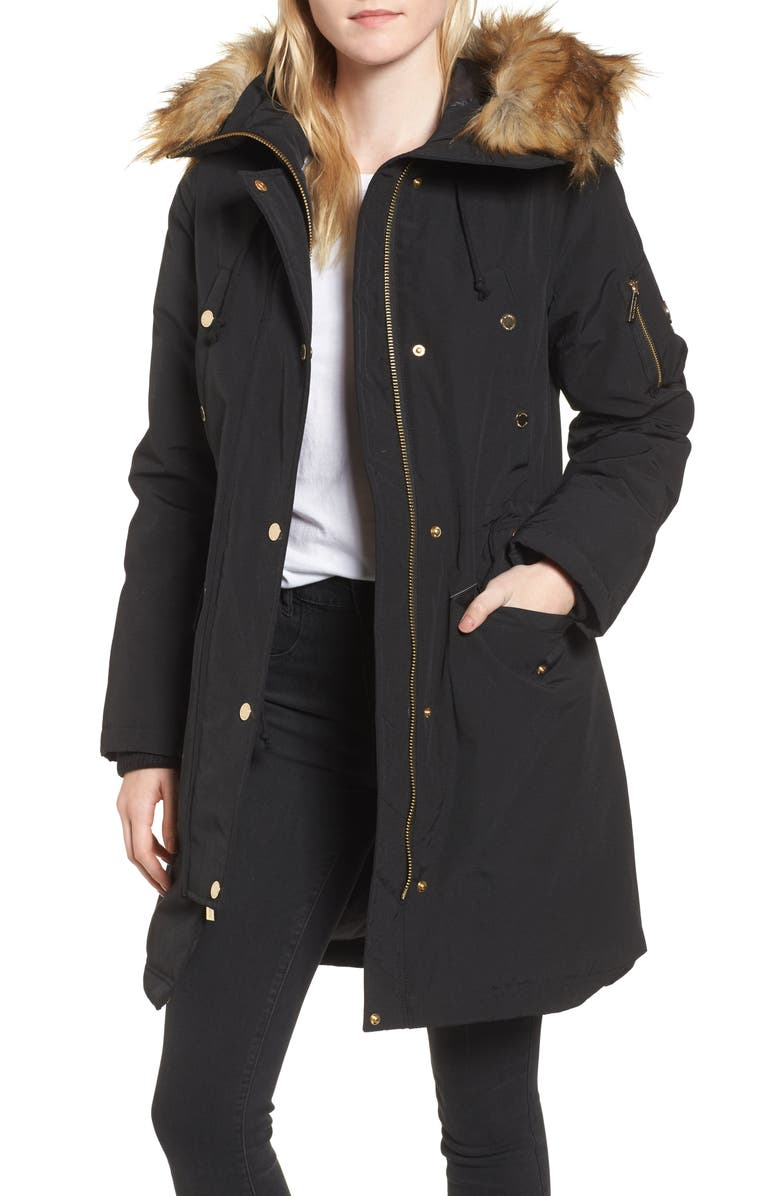 3a11398de55 MICHAEL Michael Kors Water Resistant Snorkel Coat with Faux Fur Trim ...