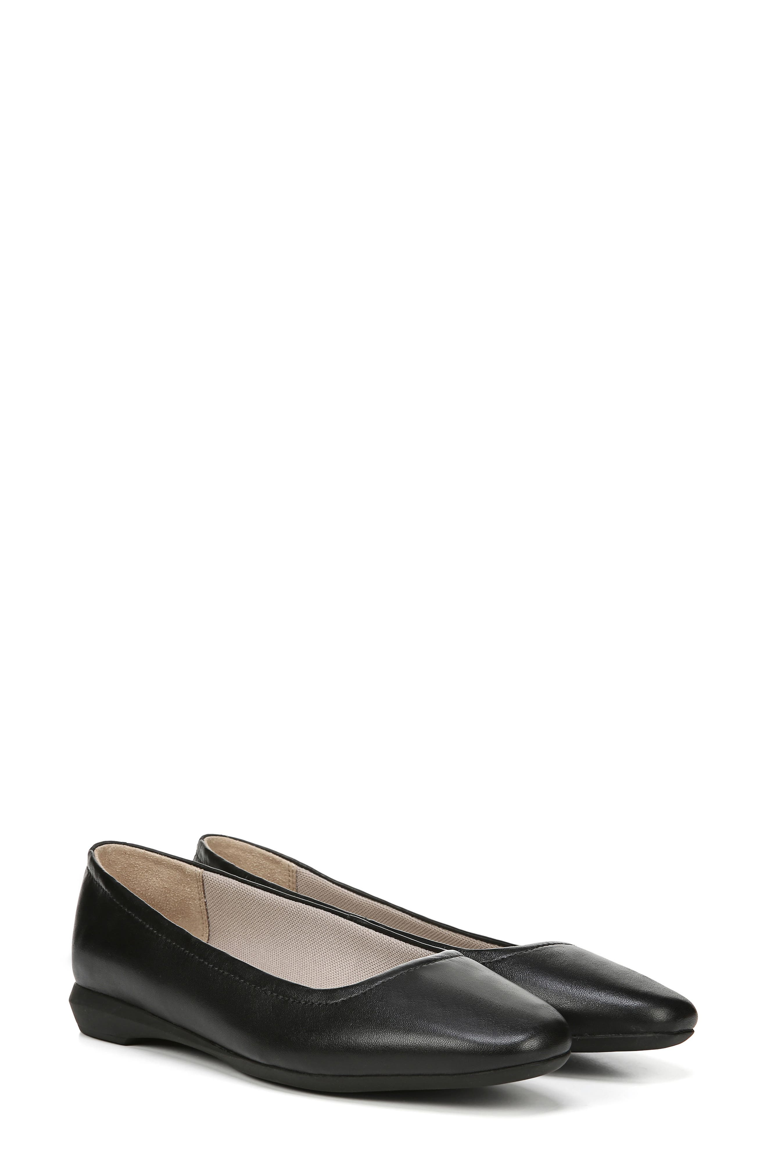 NATURALIZER,                             Alya Flat,                             Alternate thumbnail 9, color,                             BLACK LEATHER