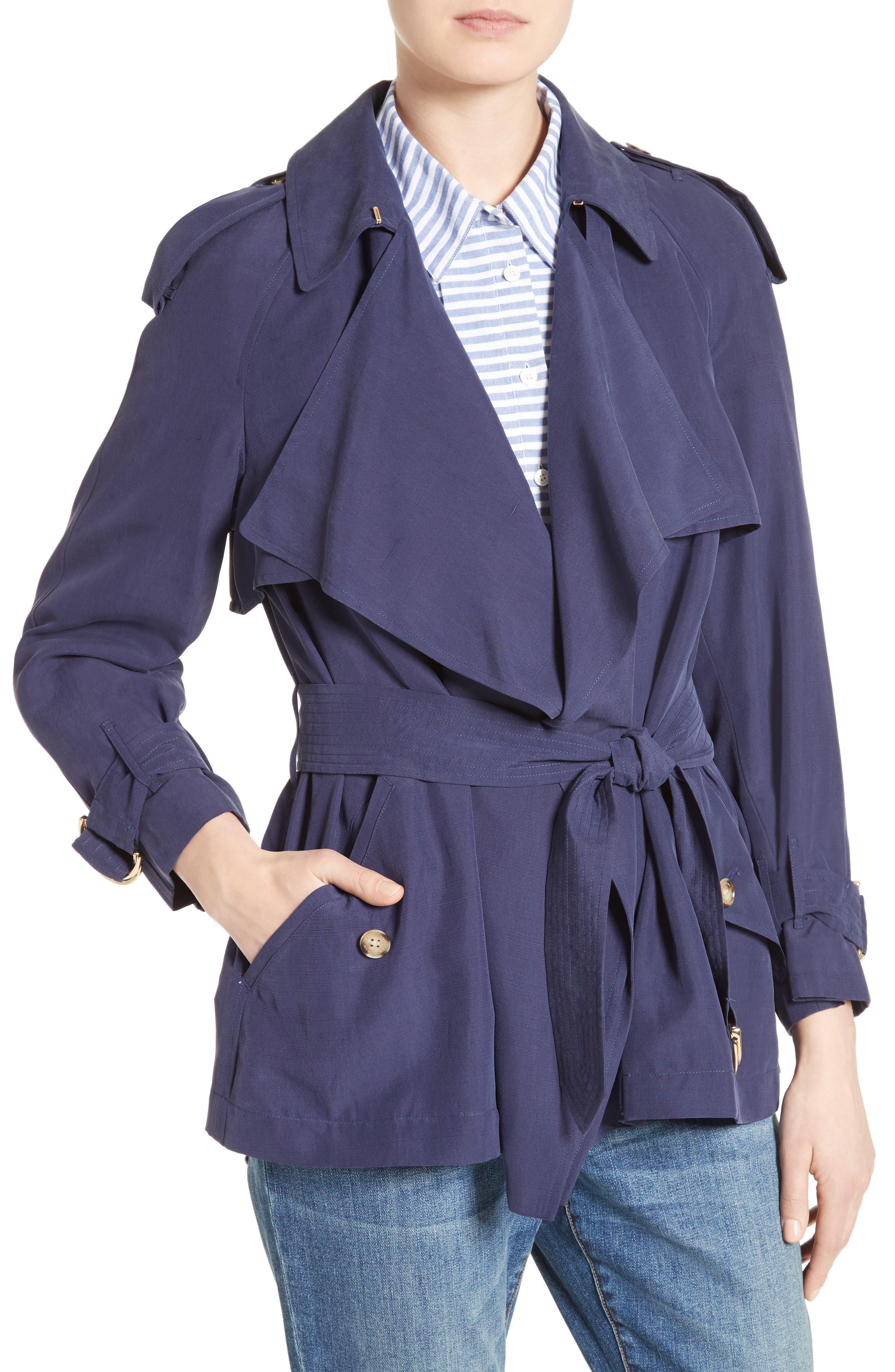 Sanbridge Silk Wrap Coat,                             Alternate thumbnail 4, color,                             410