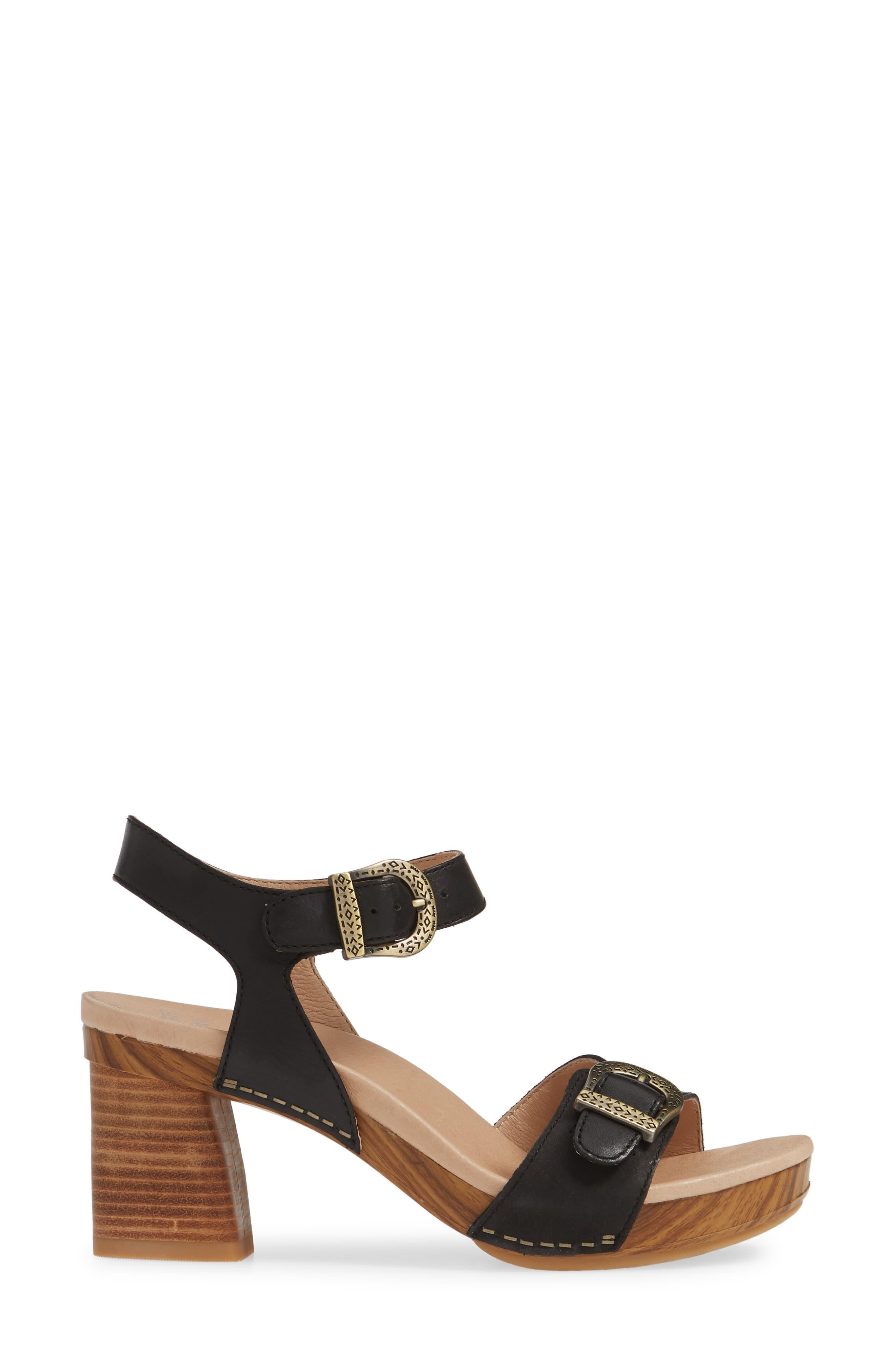 Anna Block Heel Sandal,                             Alternate thumbnail 3, color,                             BLACK LEATHER
