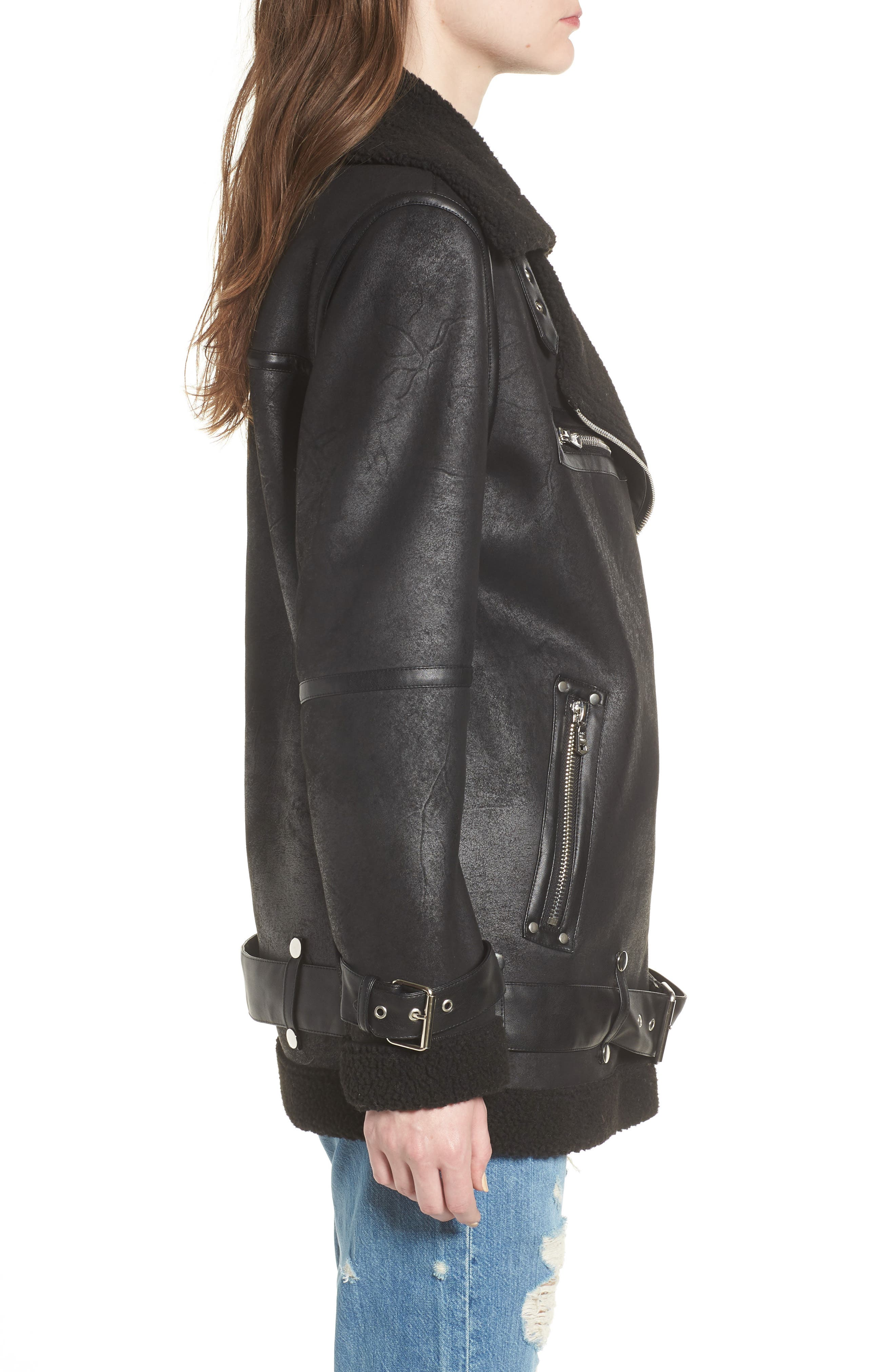 Faux Shearling Biker Jacket,                             Alternate thumbnail 3, color,                             BLACK