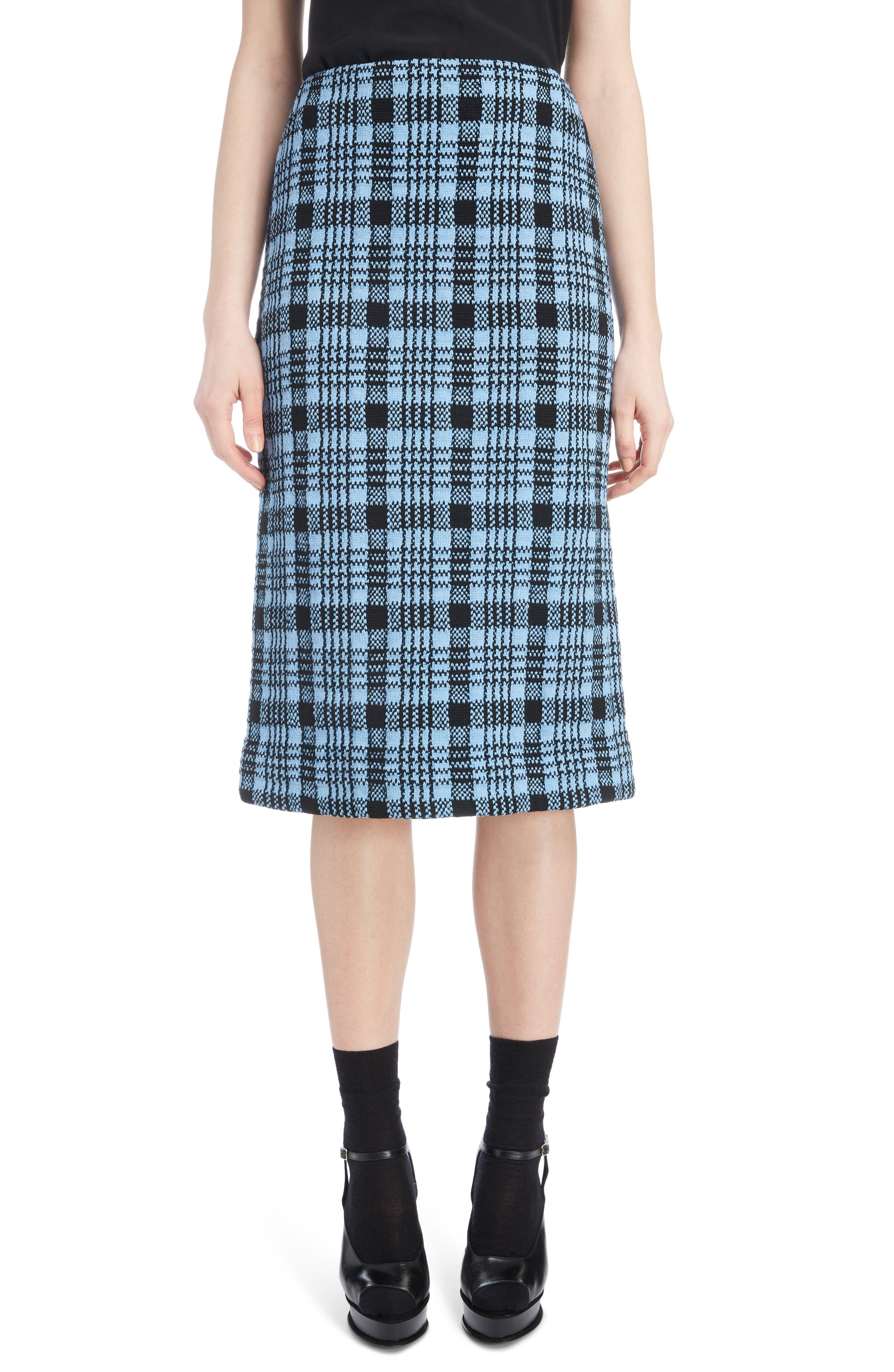 Long Plaid Pencil Skirt, Main, color, 400