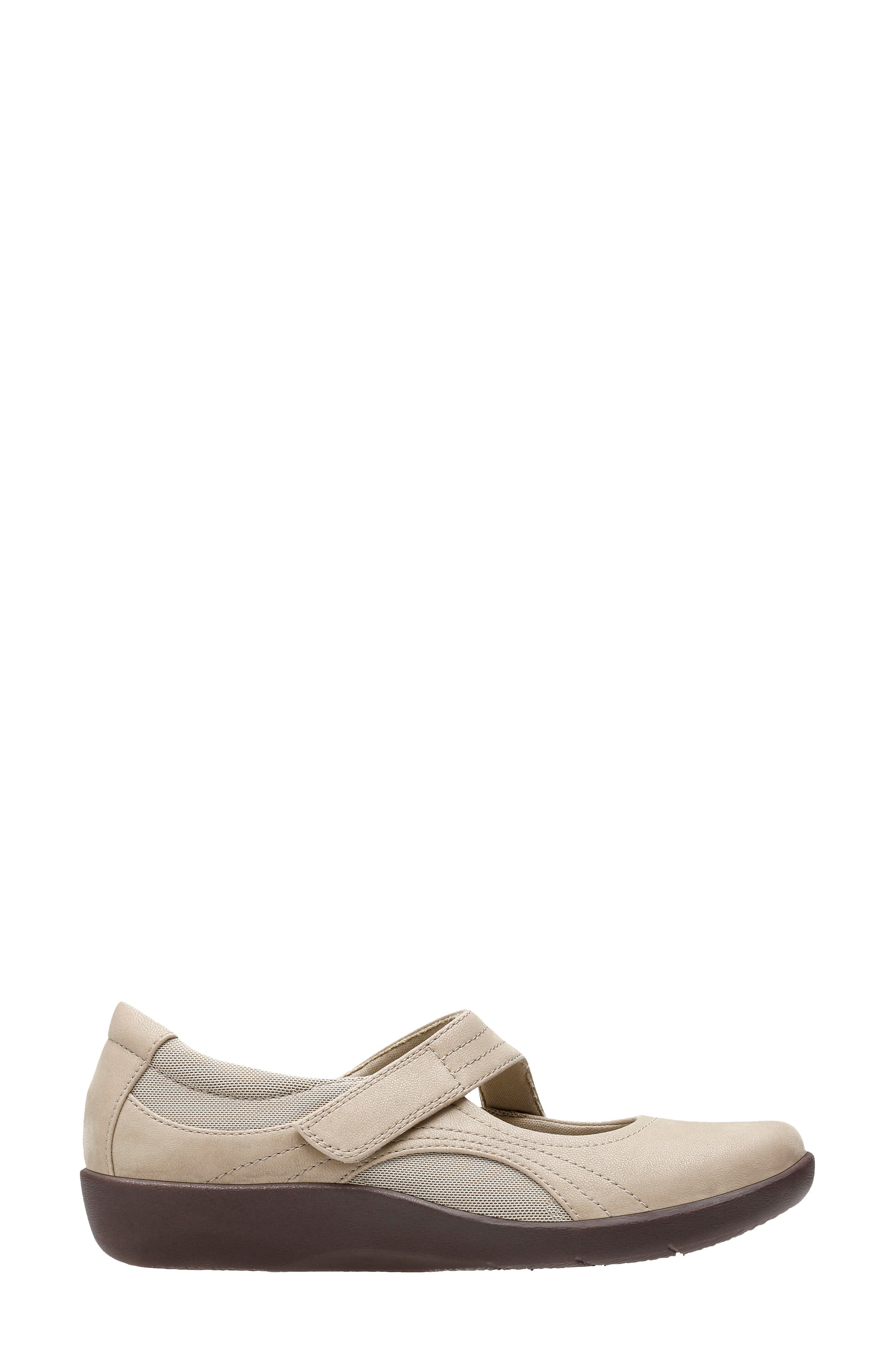 CLARKS<SUP>®</SUP>,                             Sillian Bella Mary Jane Flat,                             Alternate thumbnail 2, color,                             SAND SYNTHETIC NUBUCK