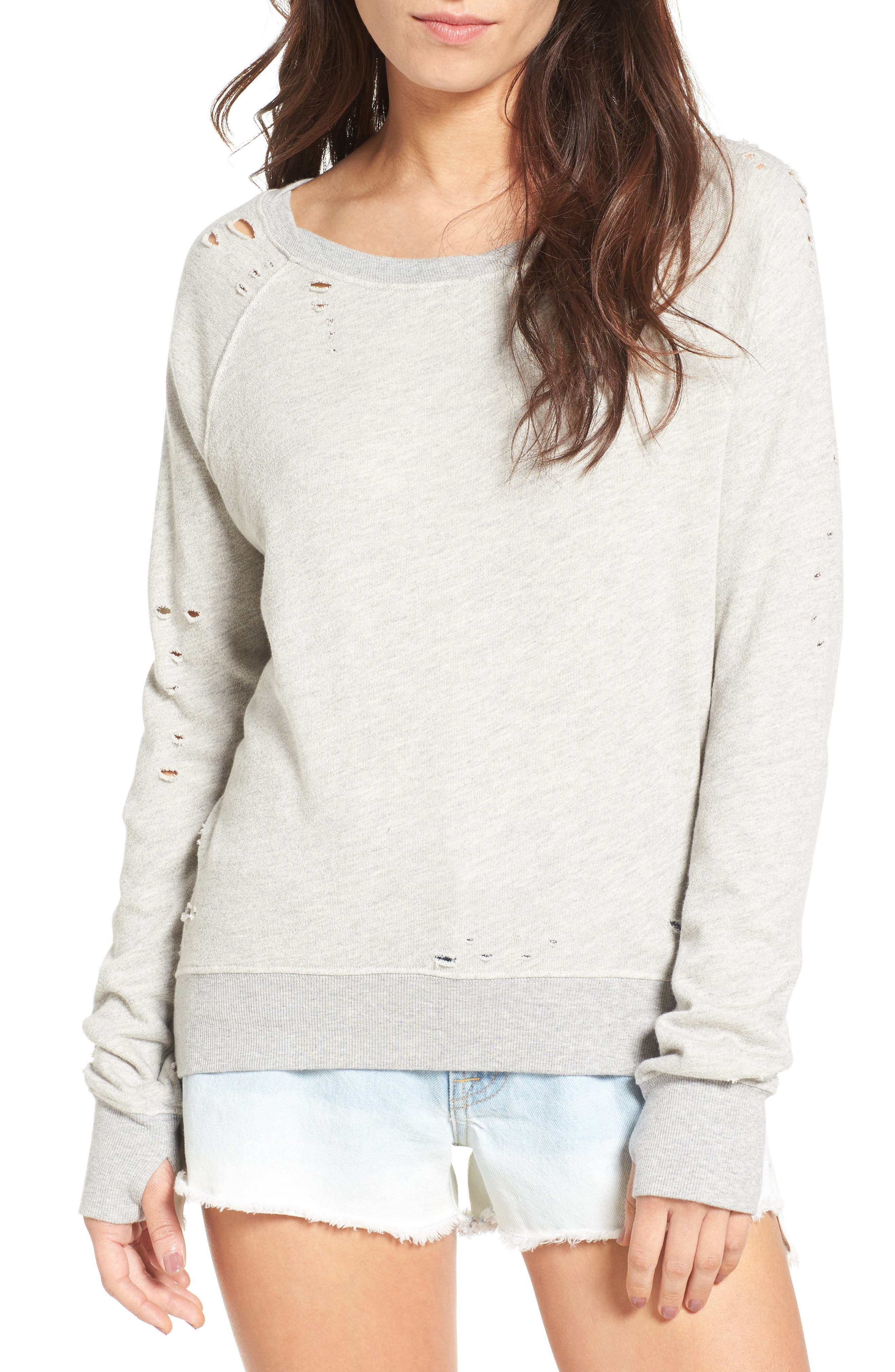 'Annie' Destroyed High/Low Sweatshirt,                             Main thumbnail 2, color,
