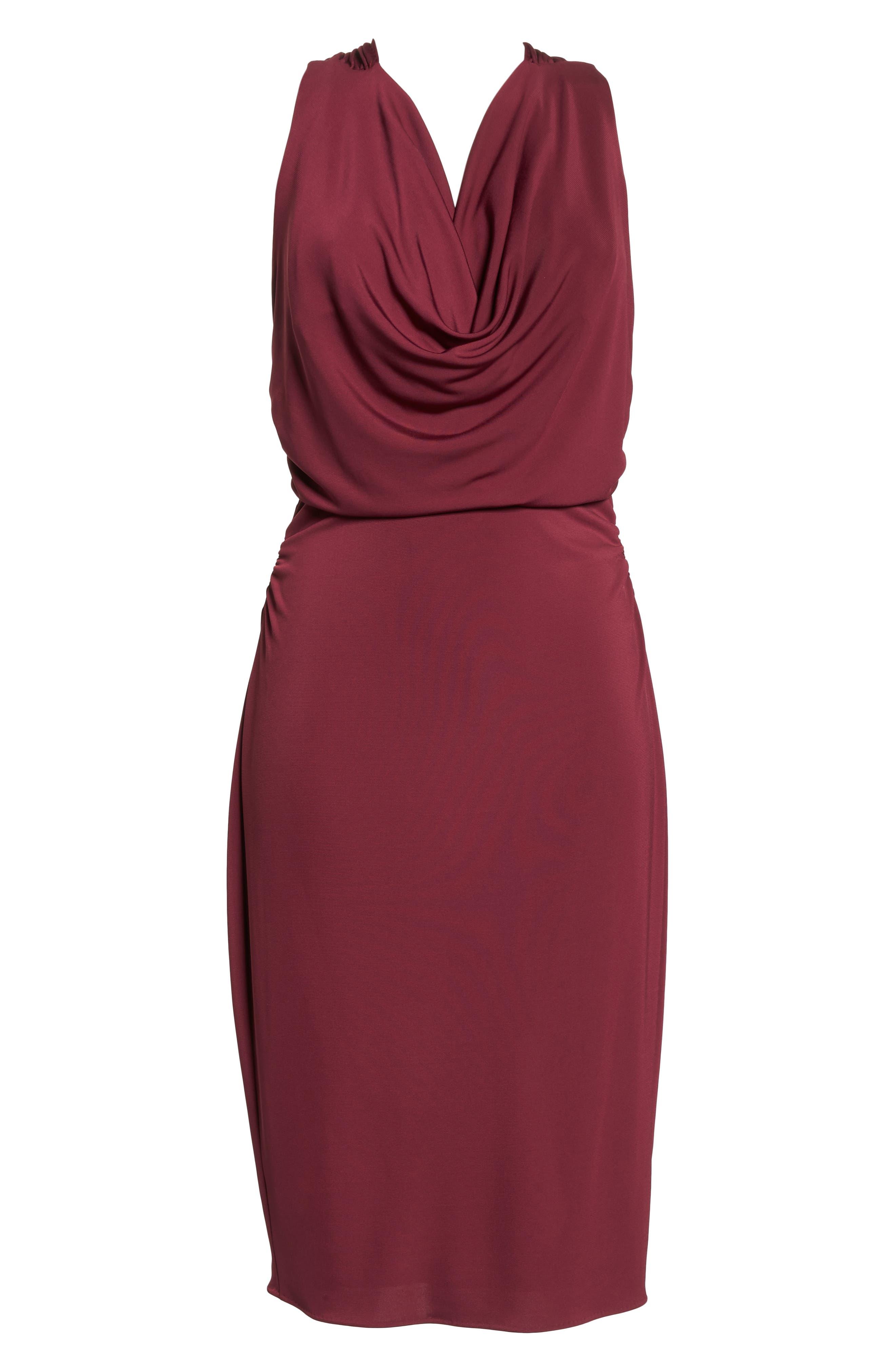 Elise Cowl Neck Sleeveless Dress,                             Alternate thumbnail 7, color,                             BURGUNDY