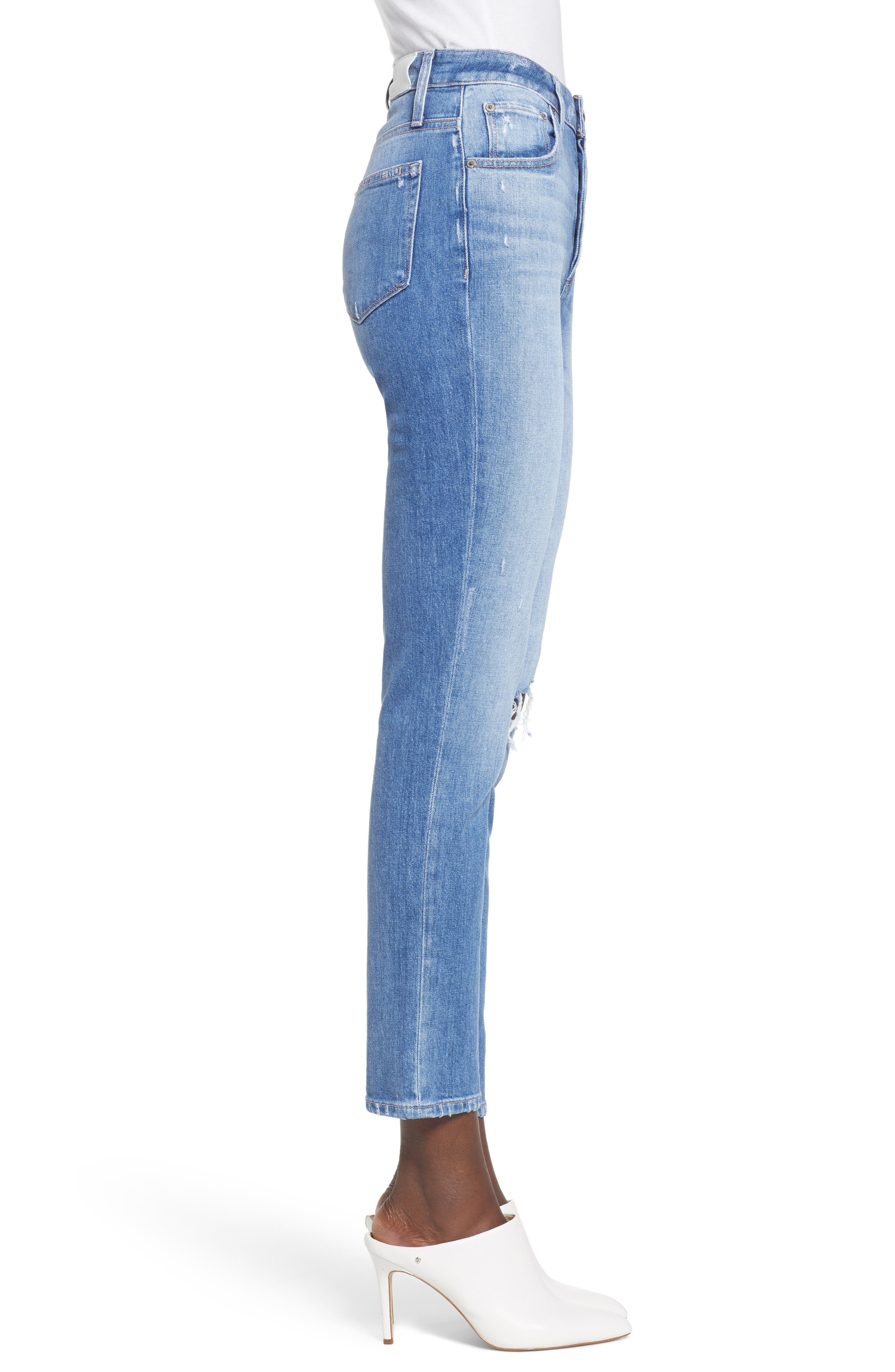 Sarah Ripped High Waist Ankle Straight Leg Jeans,                             Alternate thumbnail 3, color,                             BROOKVIEW DESTRUCTED