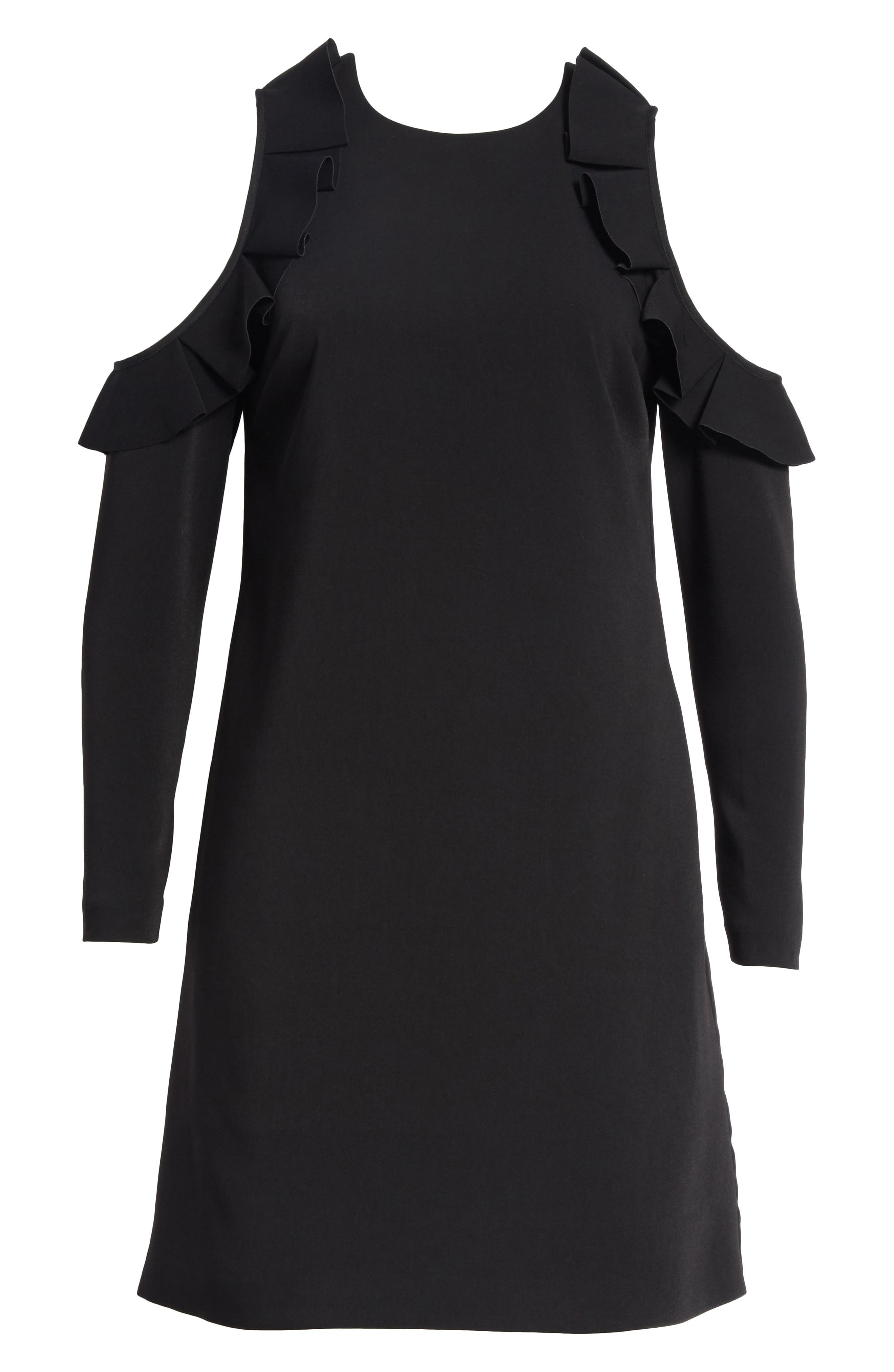 Siiara Frill Cold Shoulder Shift Dress,                             Alternate thumbnail 6, color,                             001