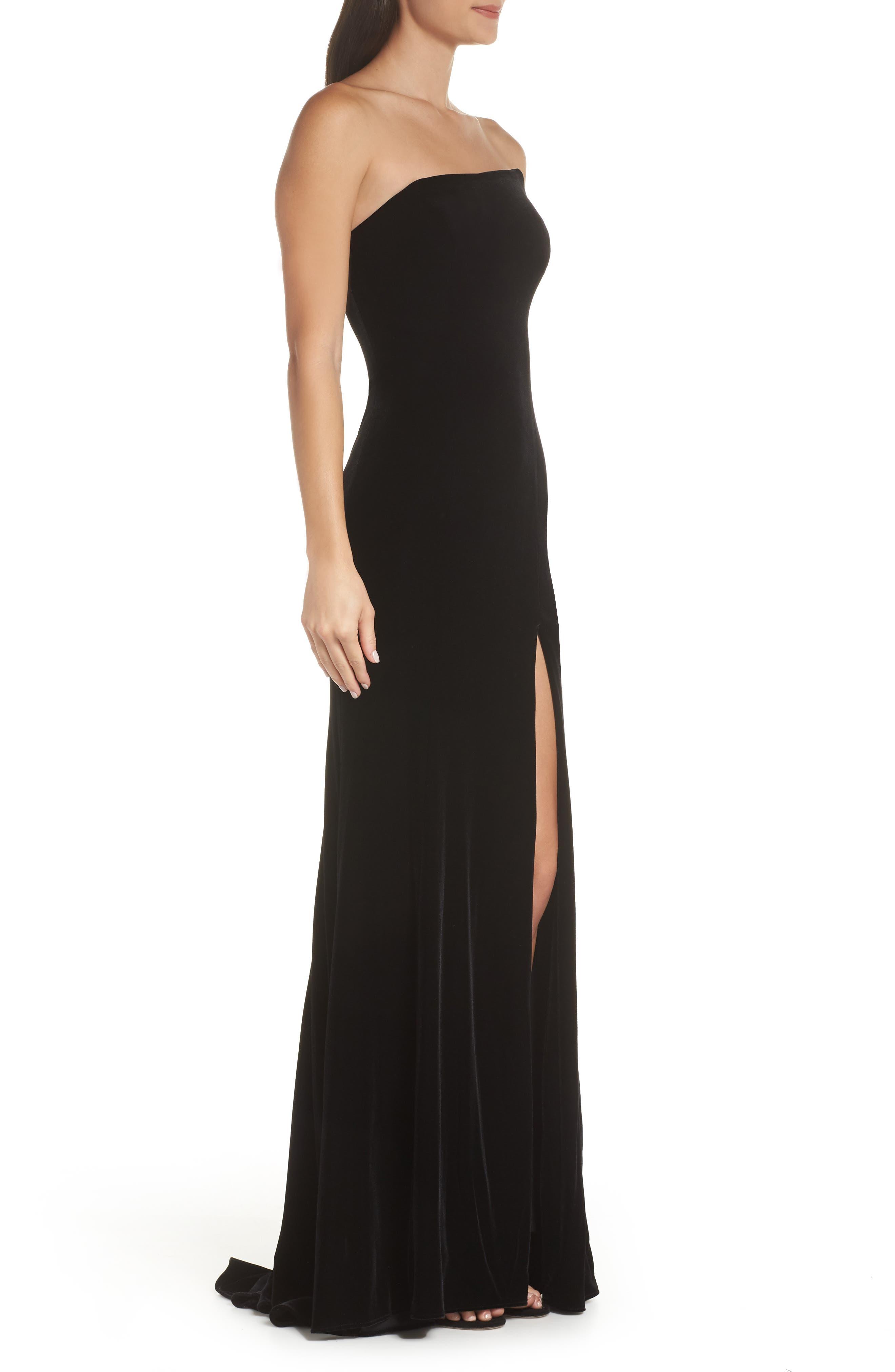 XSCAPE,                             Strapless Velvet Gown,                             Alternate thumbnail 3, color,                             BLACK