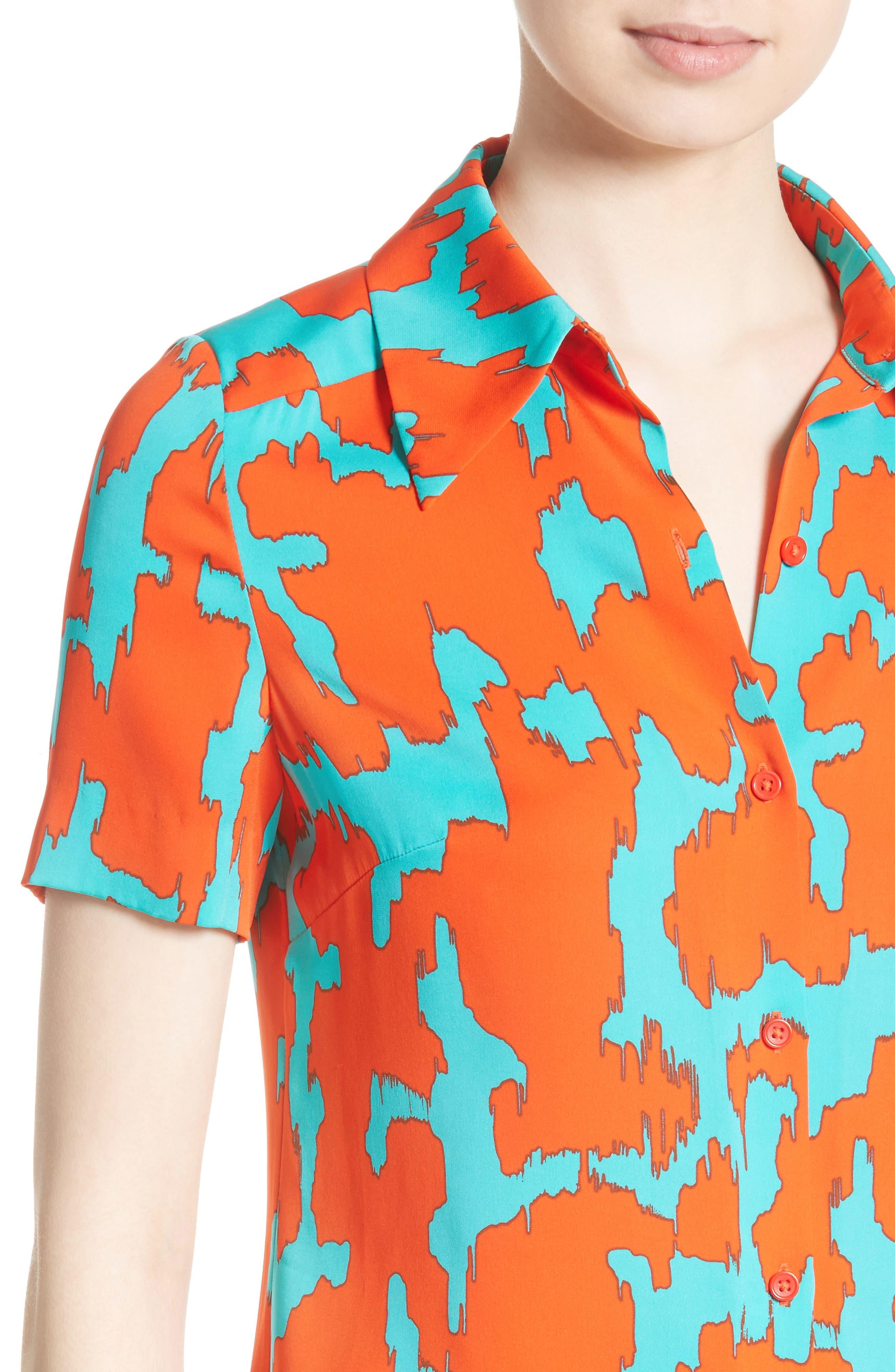 Diane von Furstenburg Print Stretch Silk Shirt,                             Alternate thumbnail 4, color,                             845