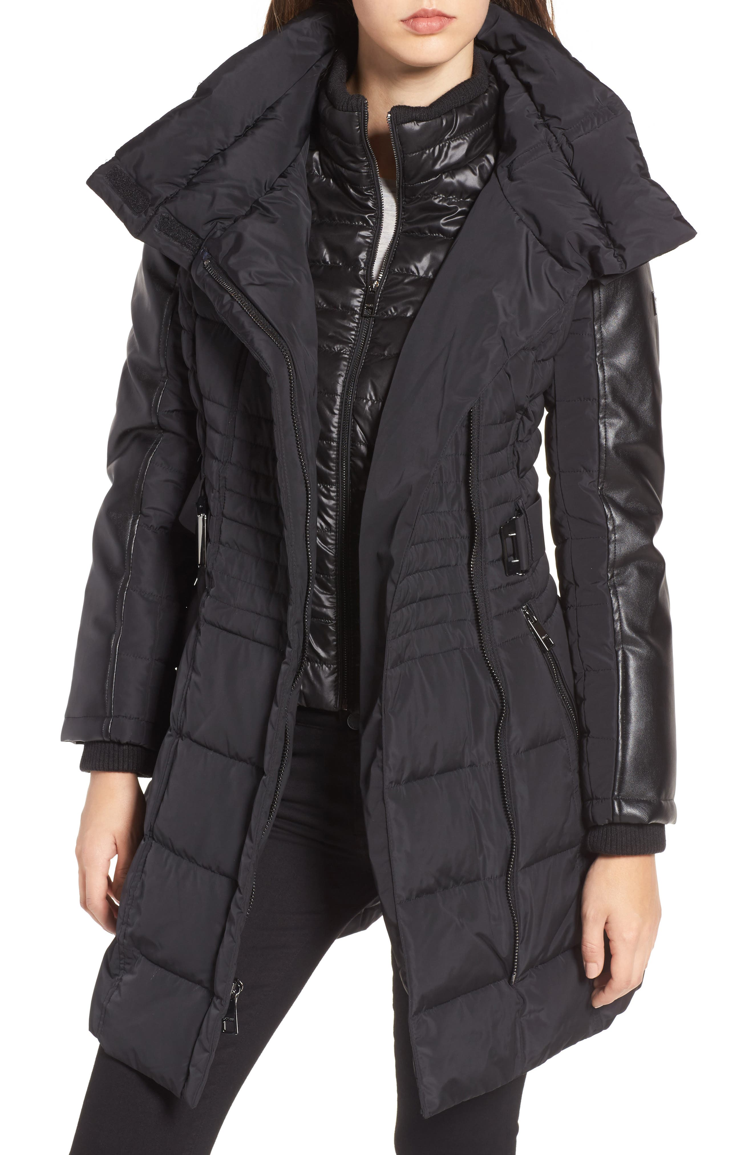 Belted Mixed Media Coat,                             Alternate thumbnail 4, color,                             001