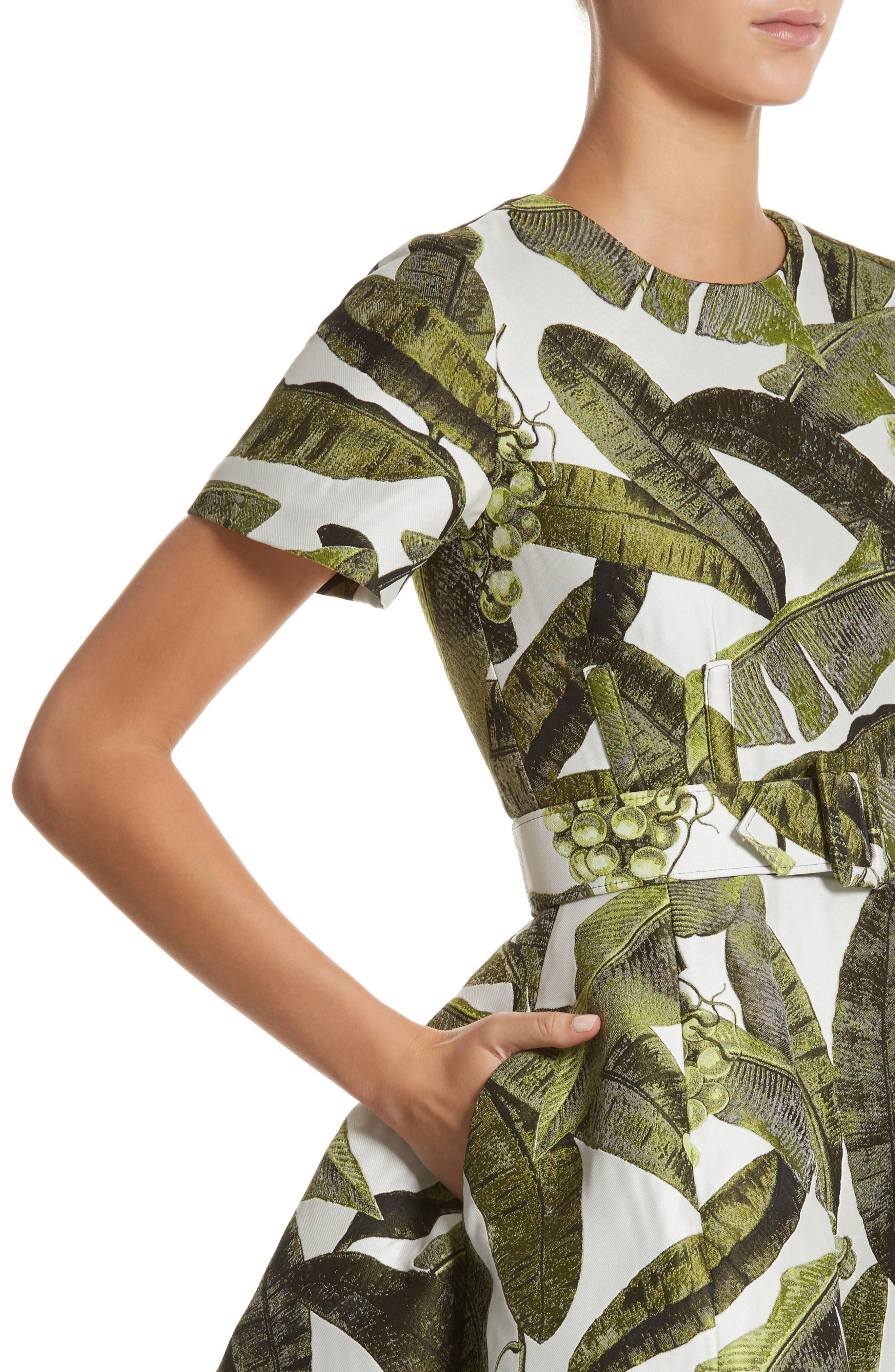 Leaf Jacquard Dress,                             Alternate thumbnail 4, color,                             300
