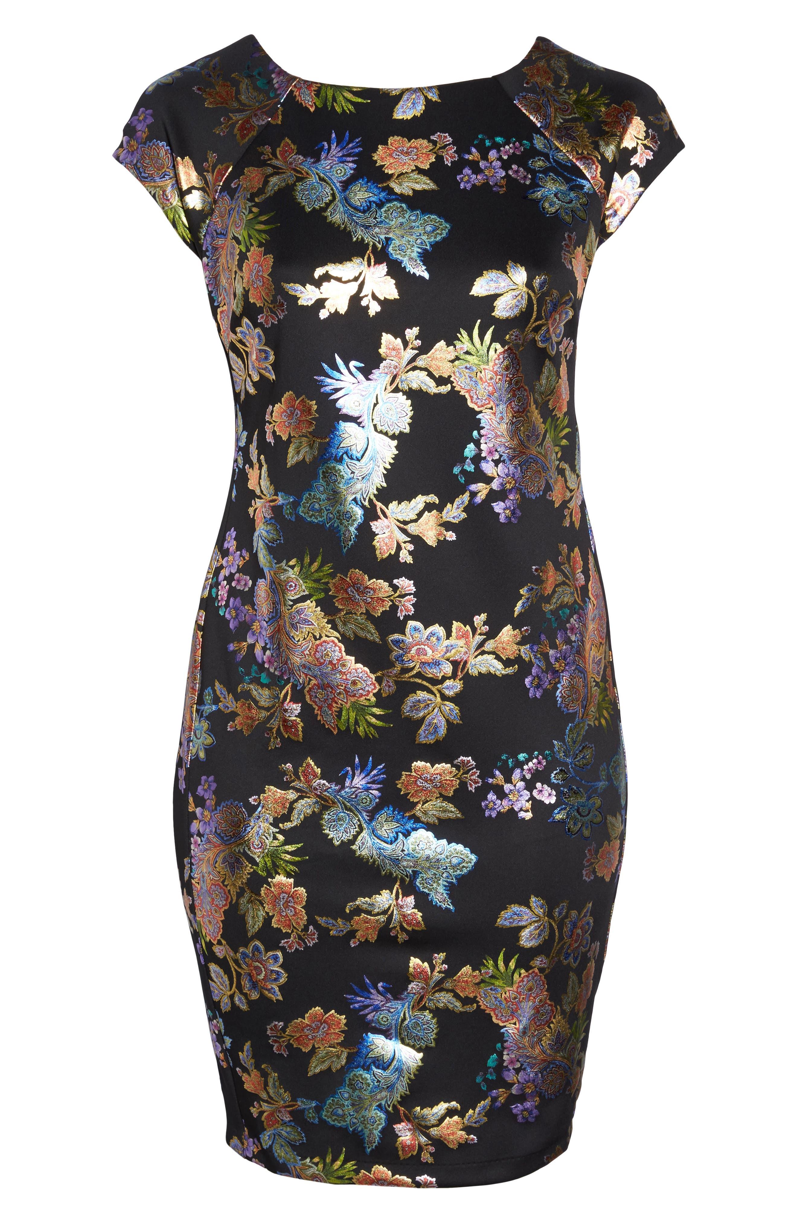 Foil Print Sheath Dress,                             Alternate thumbnail 6, color,