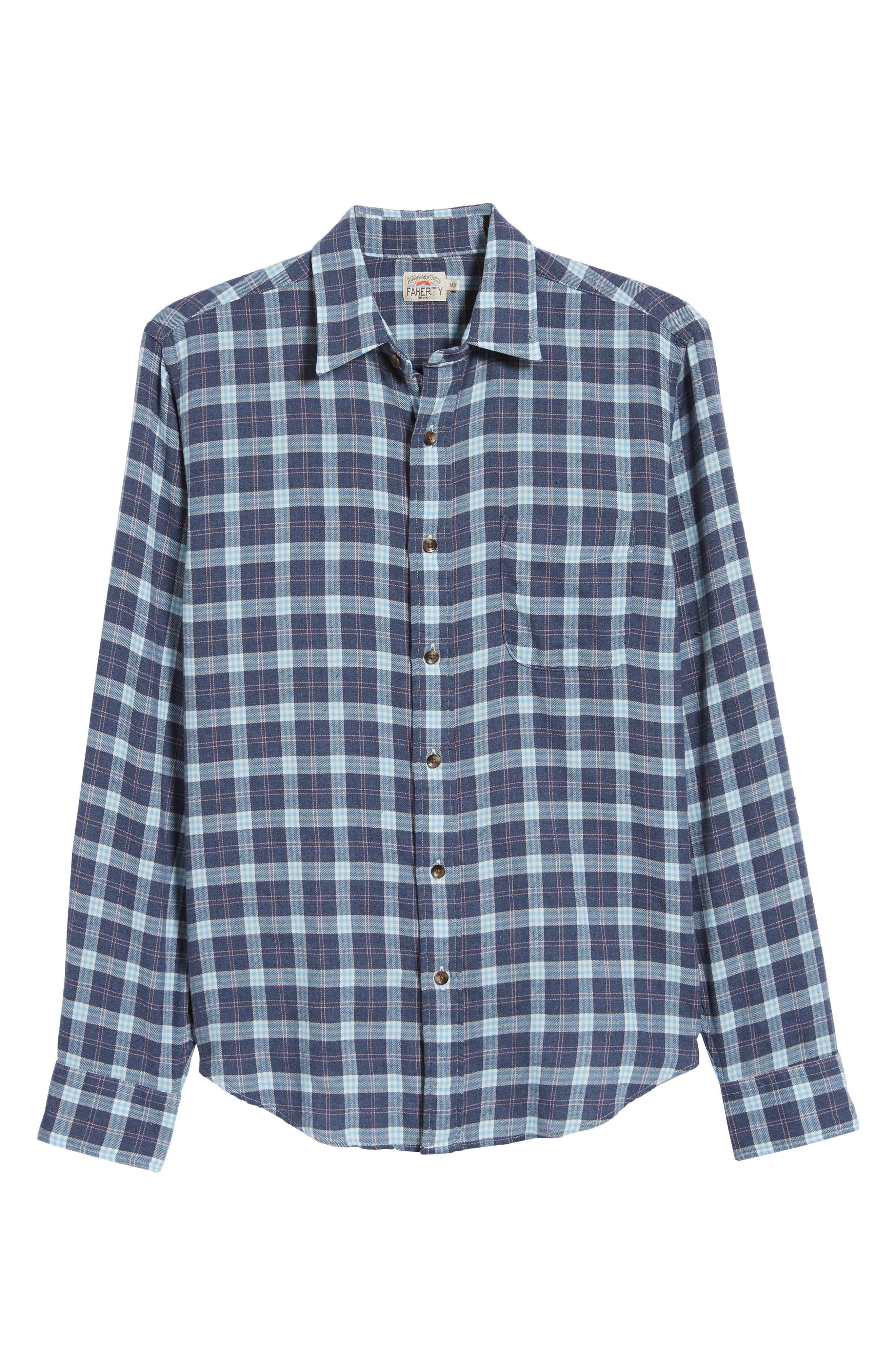 Brushed Alpine Regular Fit Flannel Shirt,                             Alternate thumbnail 5, color,                             INDIGO BLUE CORAL