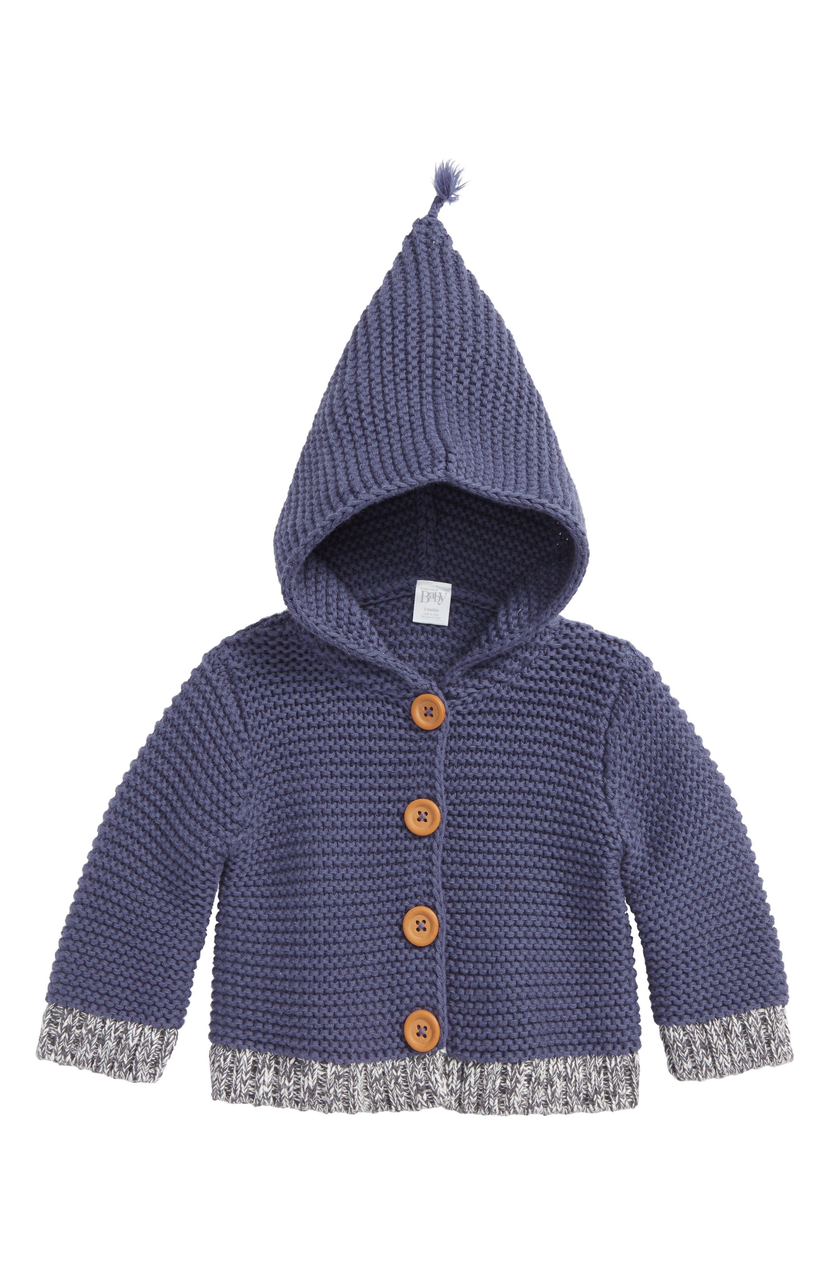 Organic Cotton Hooded Cardigan,                             Main thumbnail 1, color,                             NAVY CROWN