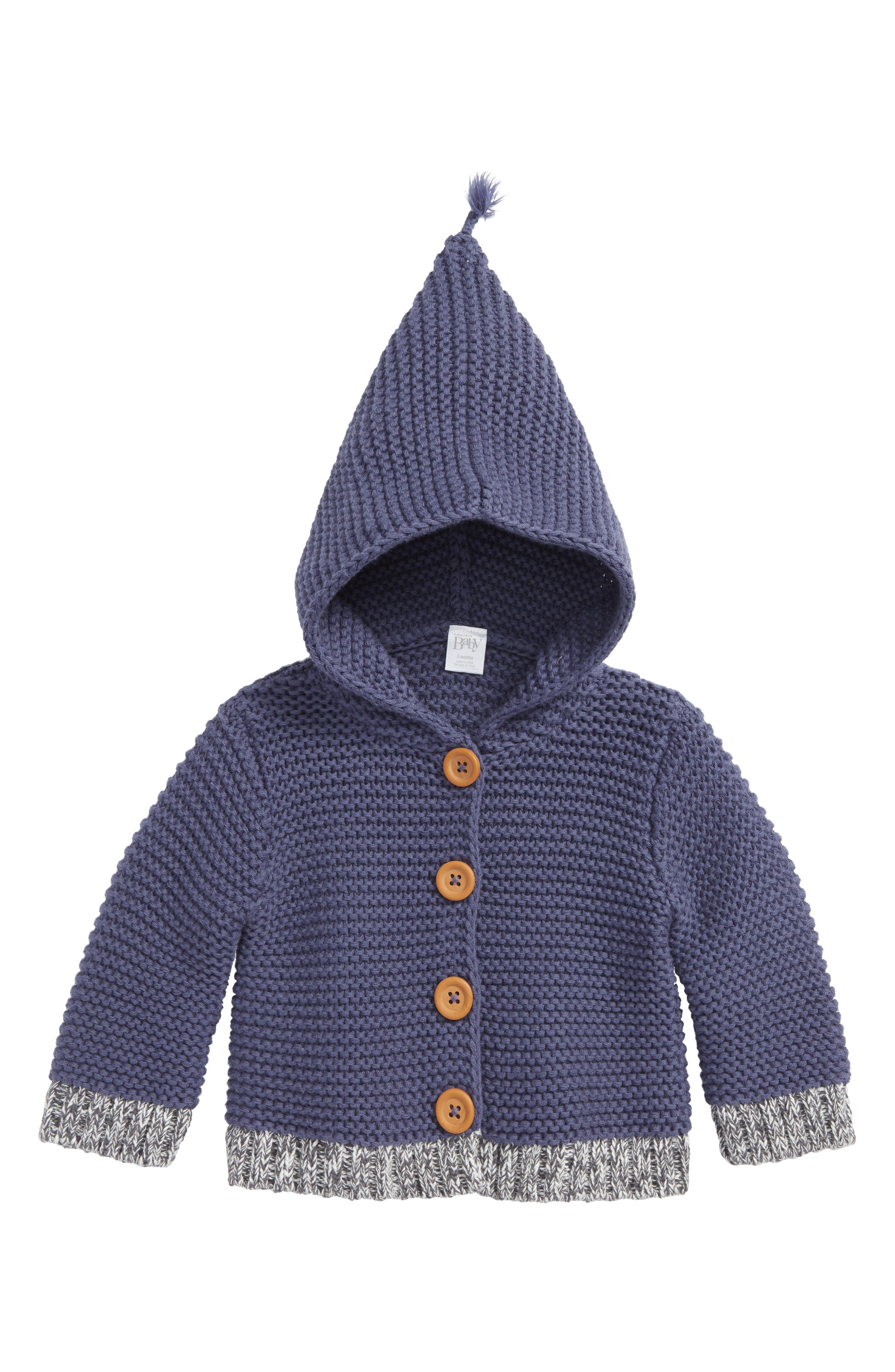 Organic Cotton Hooded Cardigan,                         Main,                         color, NAVY CROWN