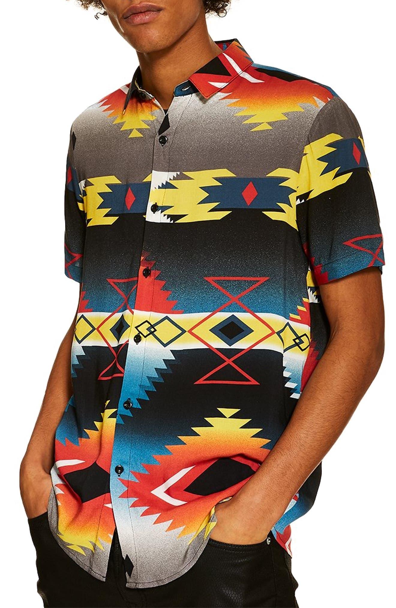 TOPMAN,                             Hyke Print Shirt,                             Main thumbnail 1, color,                             BLACK MULTI