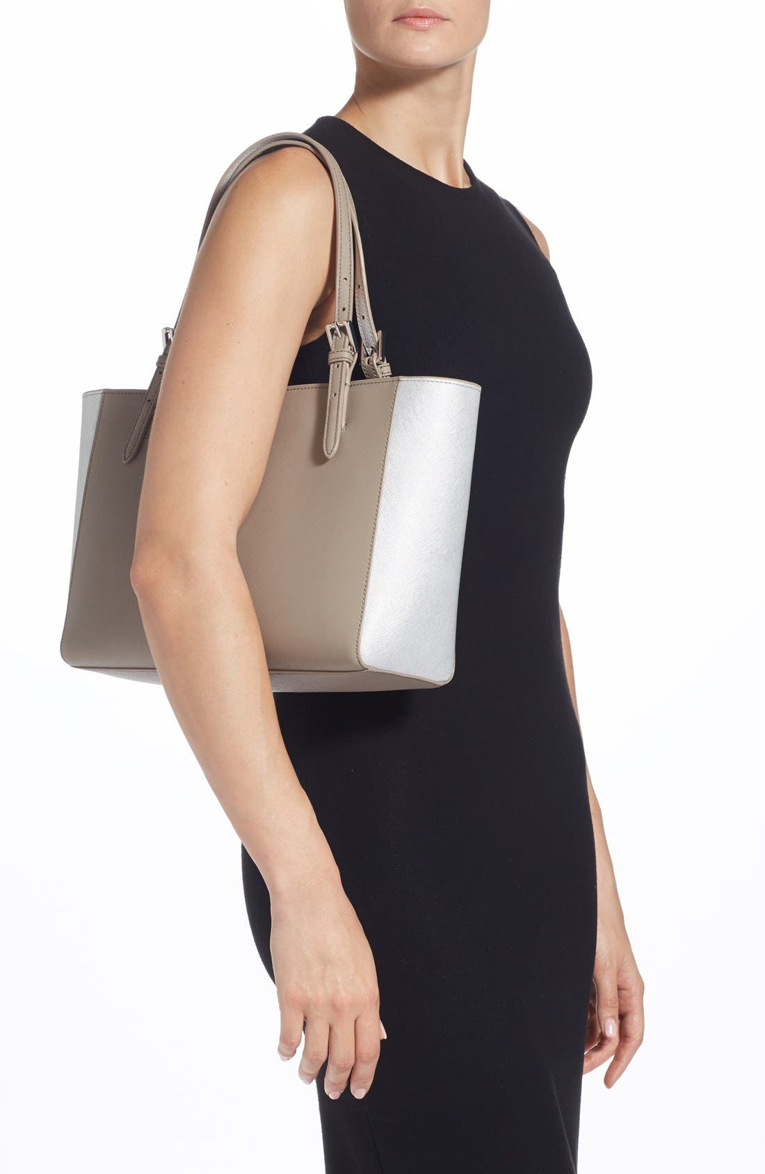 'Small York' Saffiano Leather Buckle Tote,                             Alternate thumbnail 18, color,