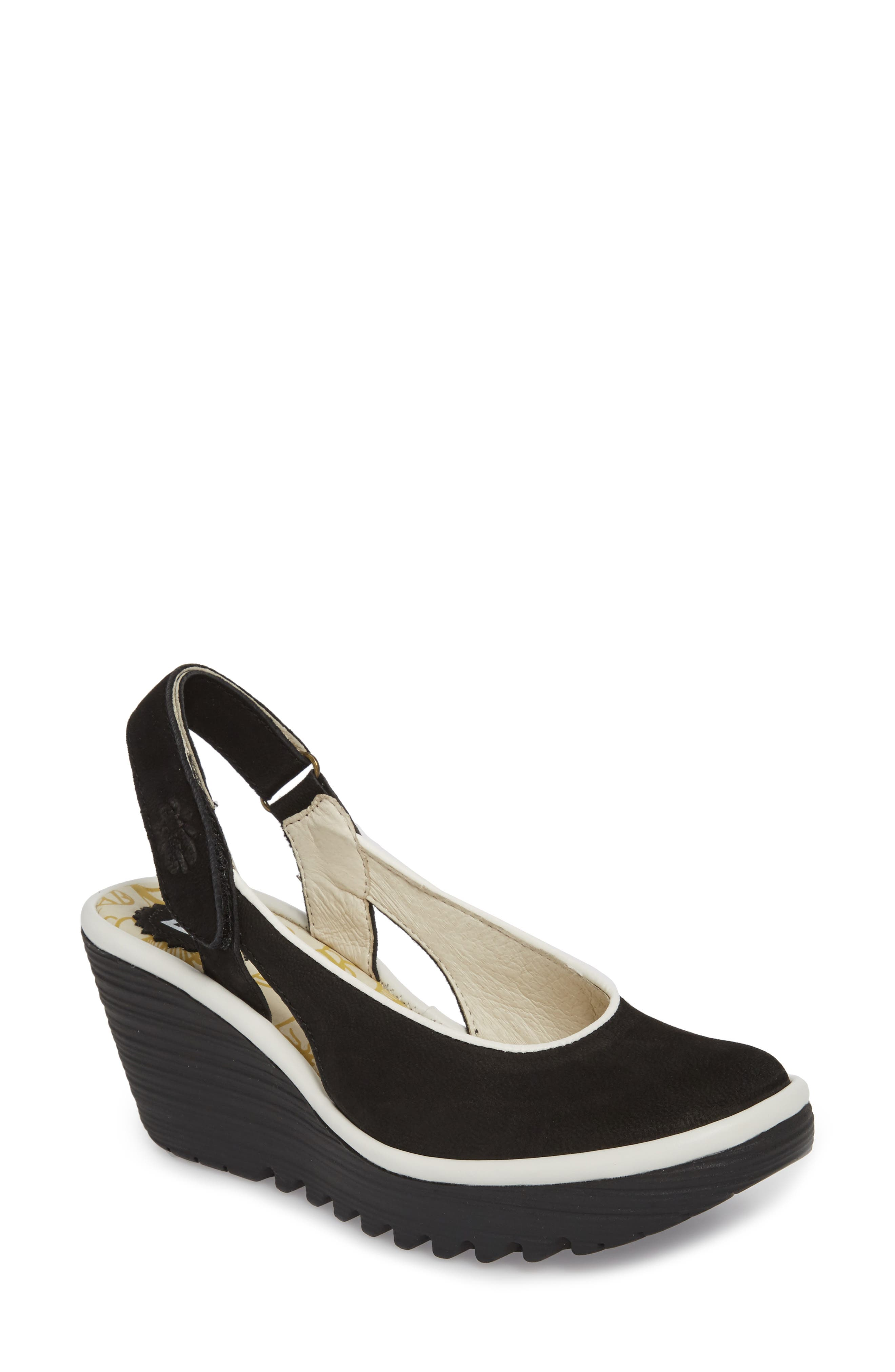 Yipi Wedge Sandal,                         Main,                         color, BLACK/ OFF WHITE MIX LEATHER