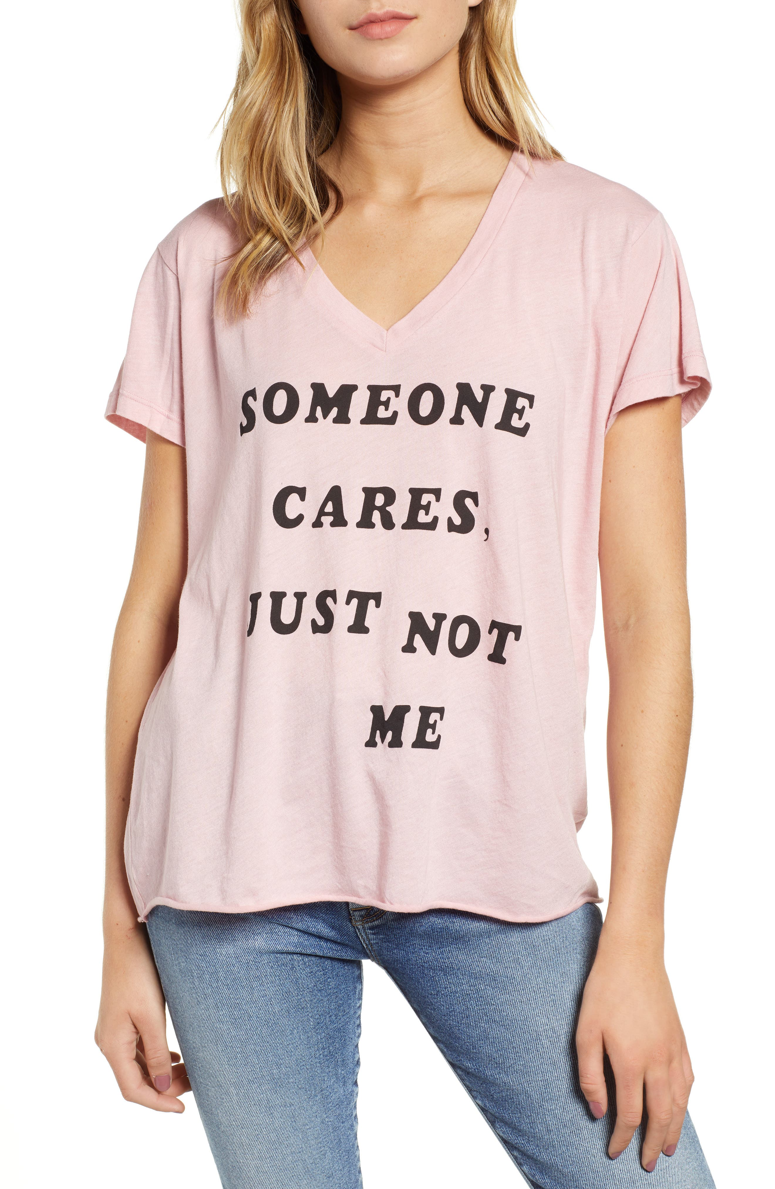 Romeo - Just Not Me V-Neck Tee,                             Main thumbnail 1, color,                             TAUPE ROSE